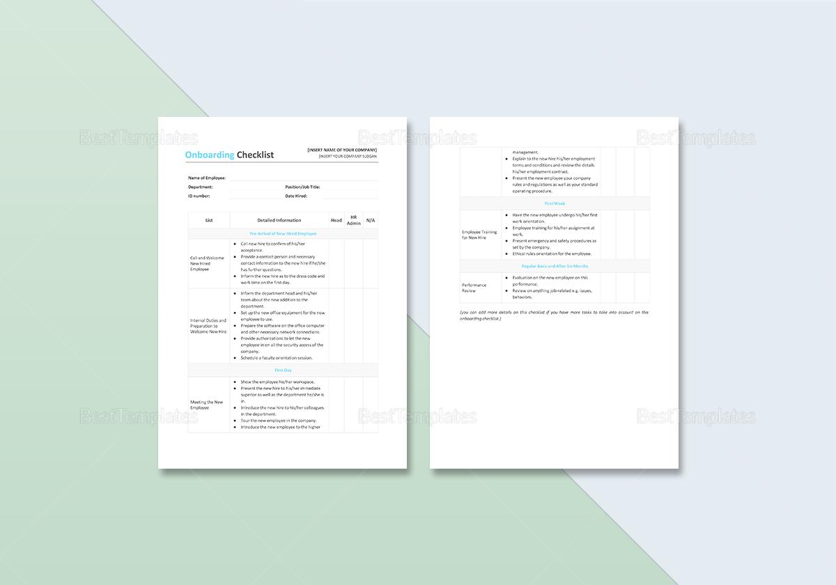 Editable Onboarding Checklist Template