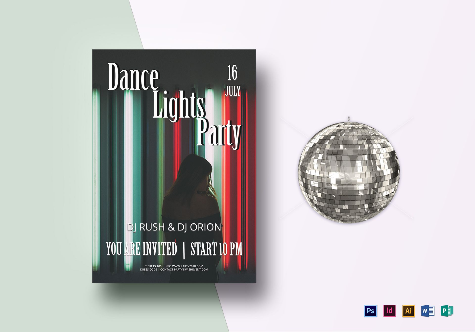 Melodic Dance Mix Lights Flyer Template