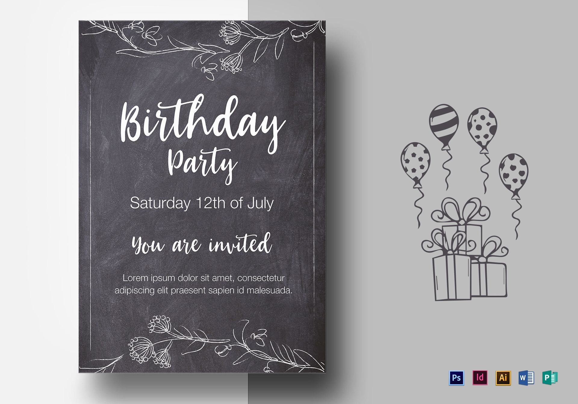 Chalkboard style Birthday Party Flyer Template
