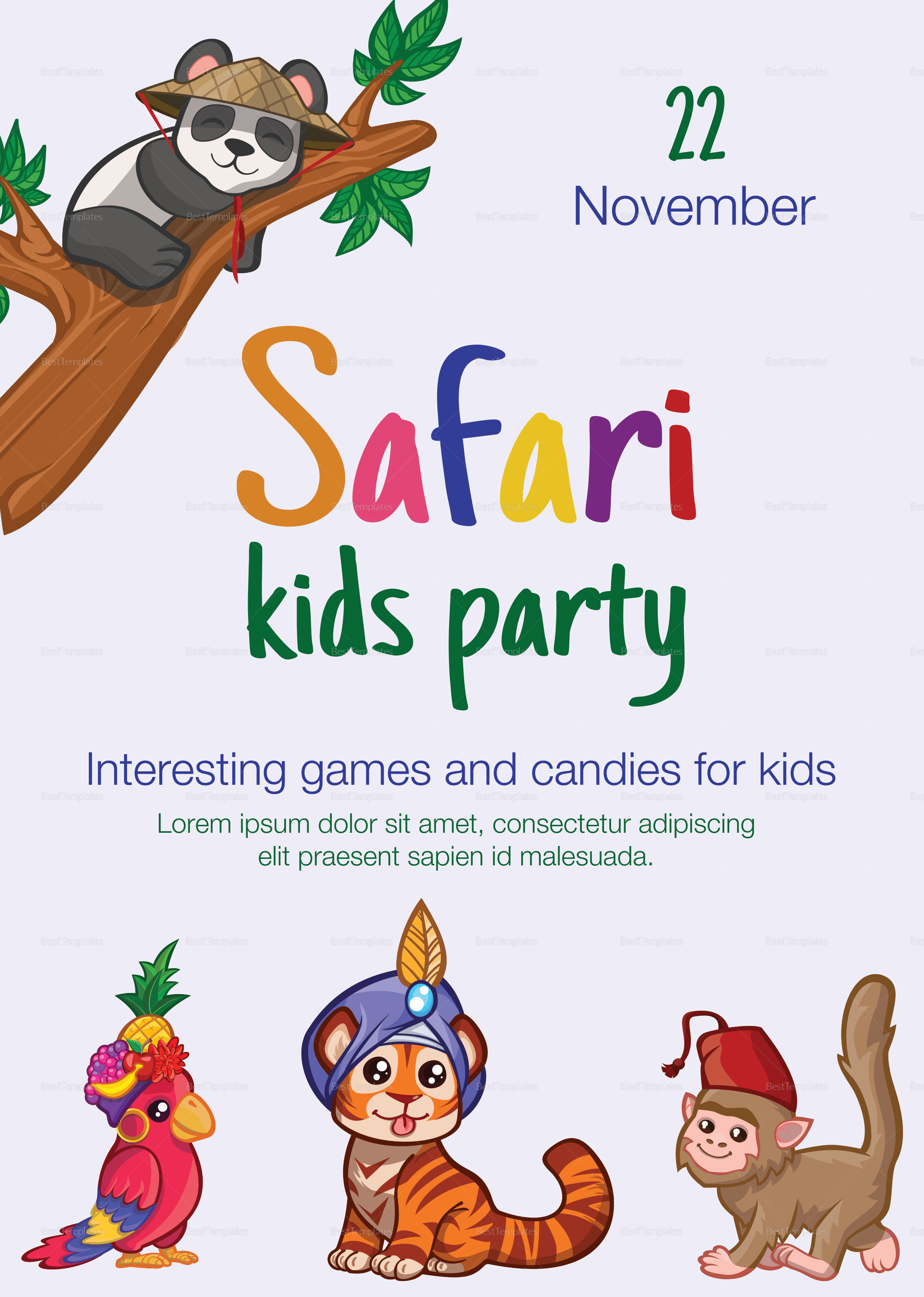 Safari Jungle Kid Birthday Flyer
