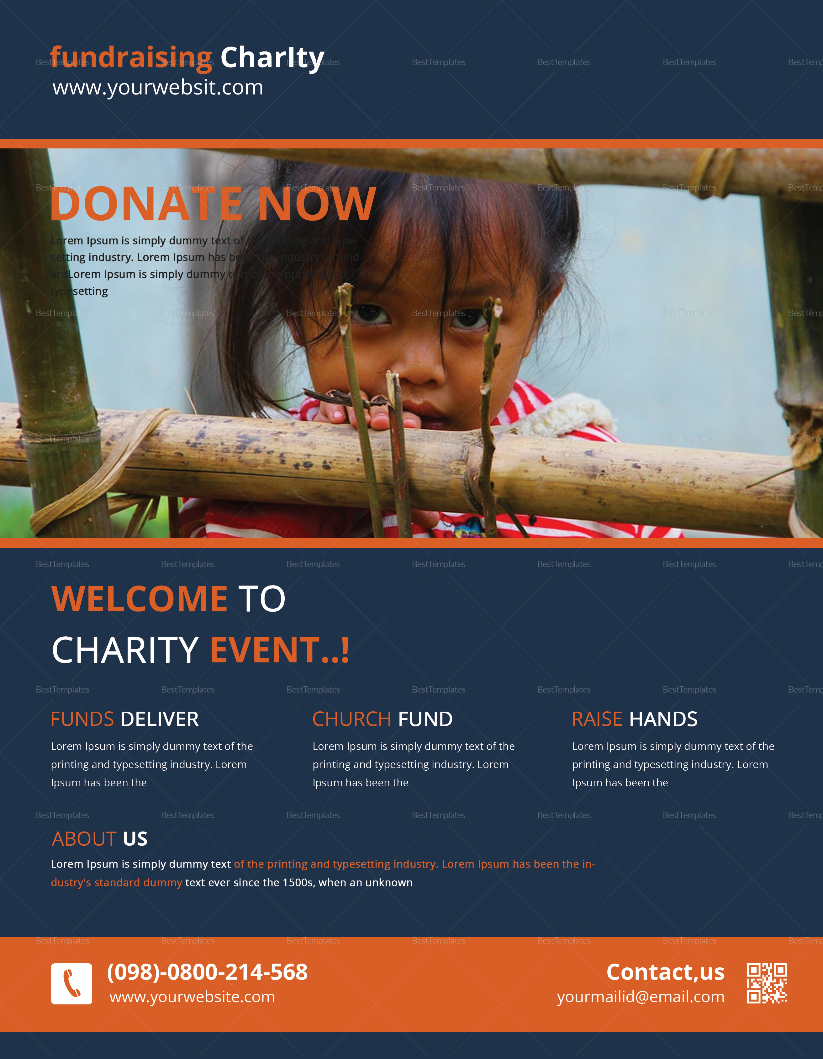 Charity Fundraisers Flyer Design Template
