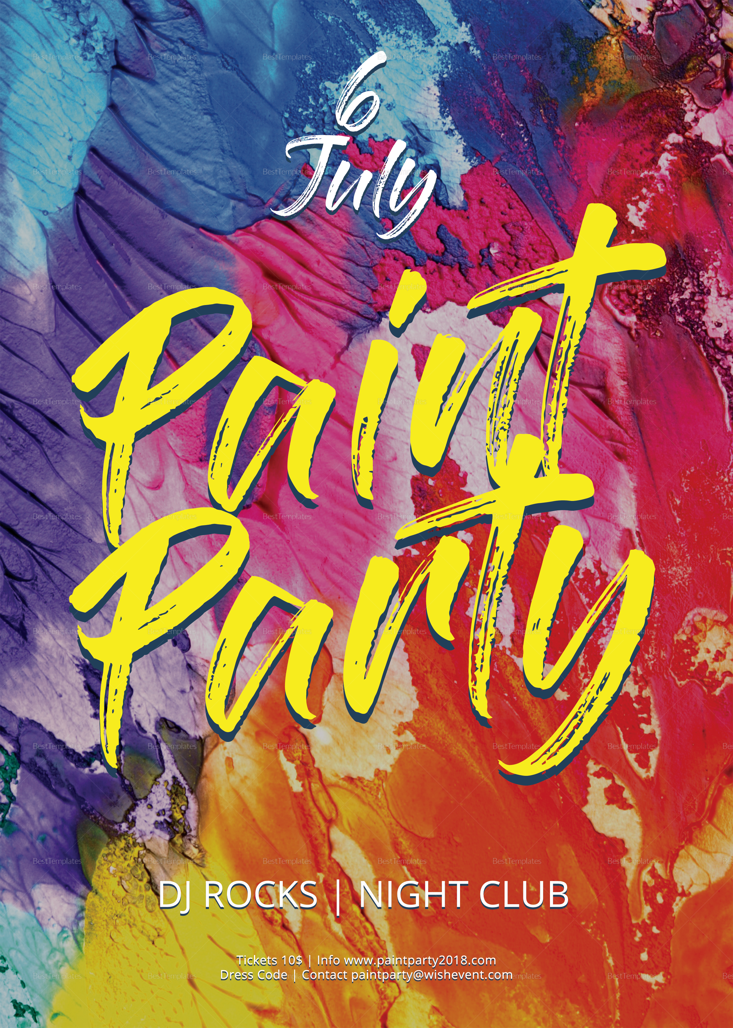 paint party flyer design template in psd  word  publisher