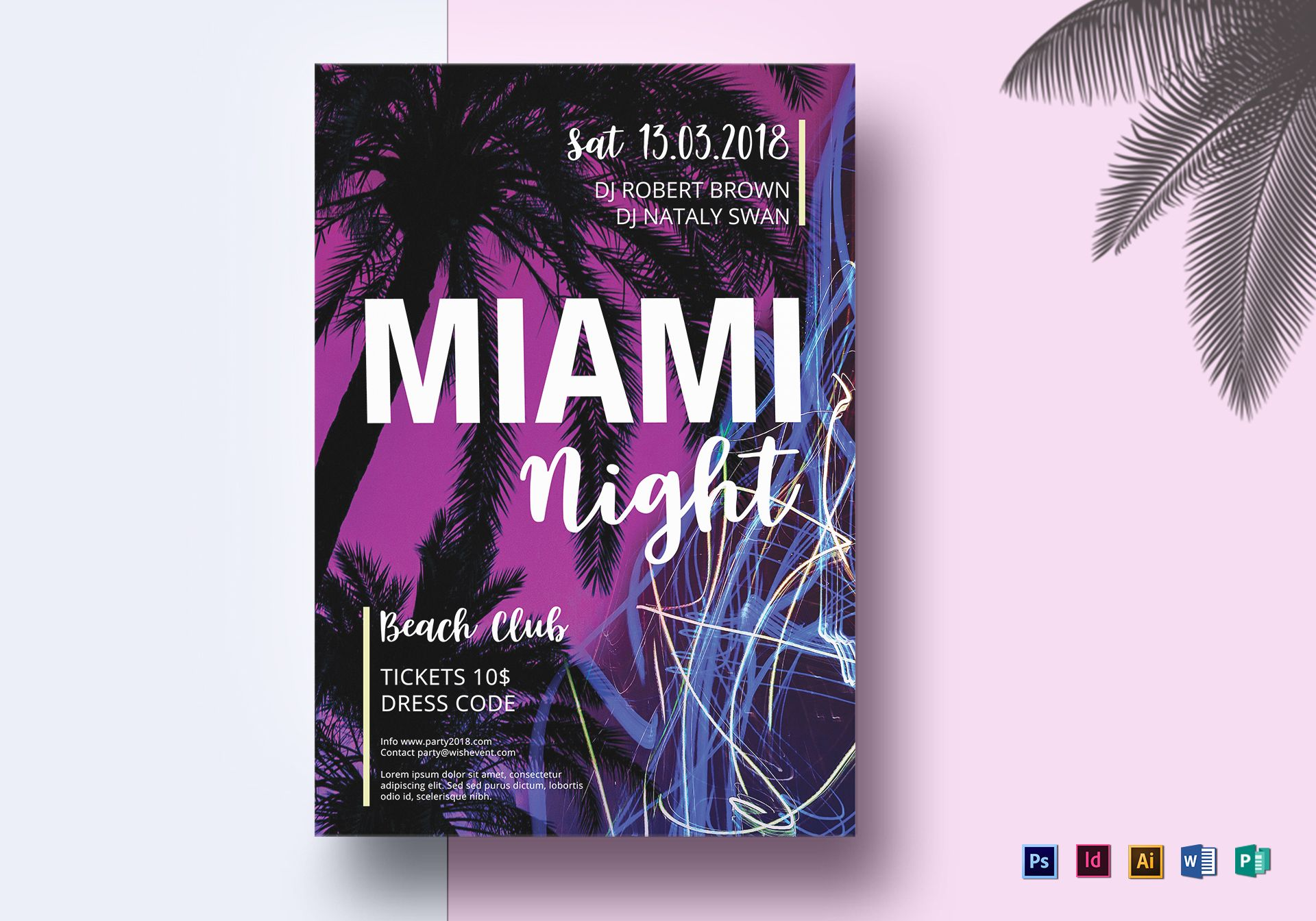 Miami Night 80s Synthwave Flyer