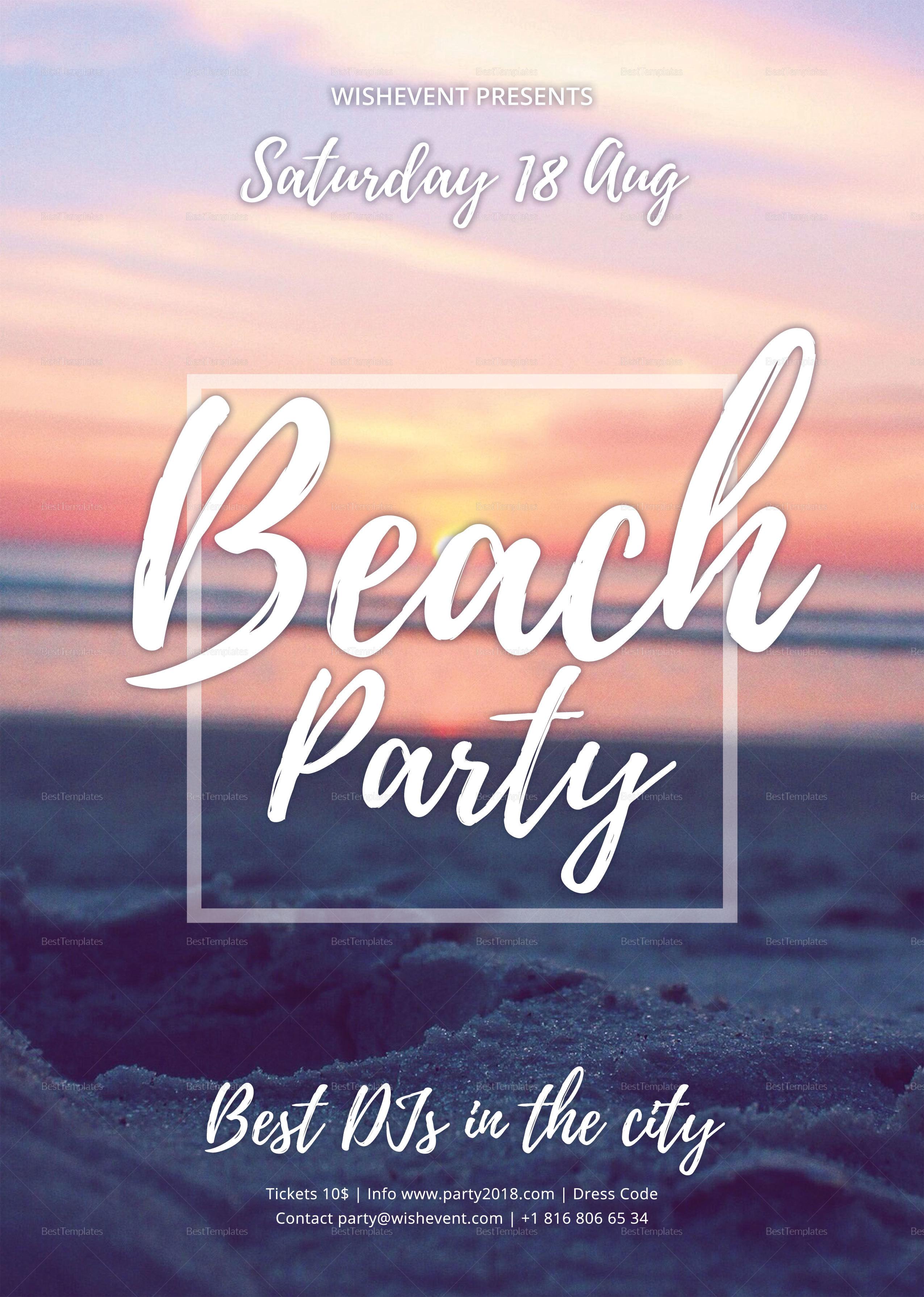 Sample Summer Beach Party Flyer Template