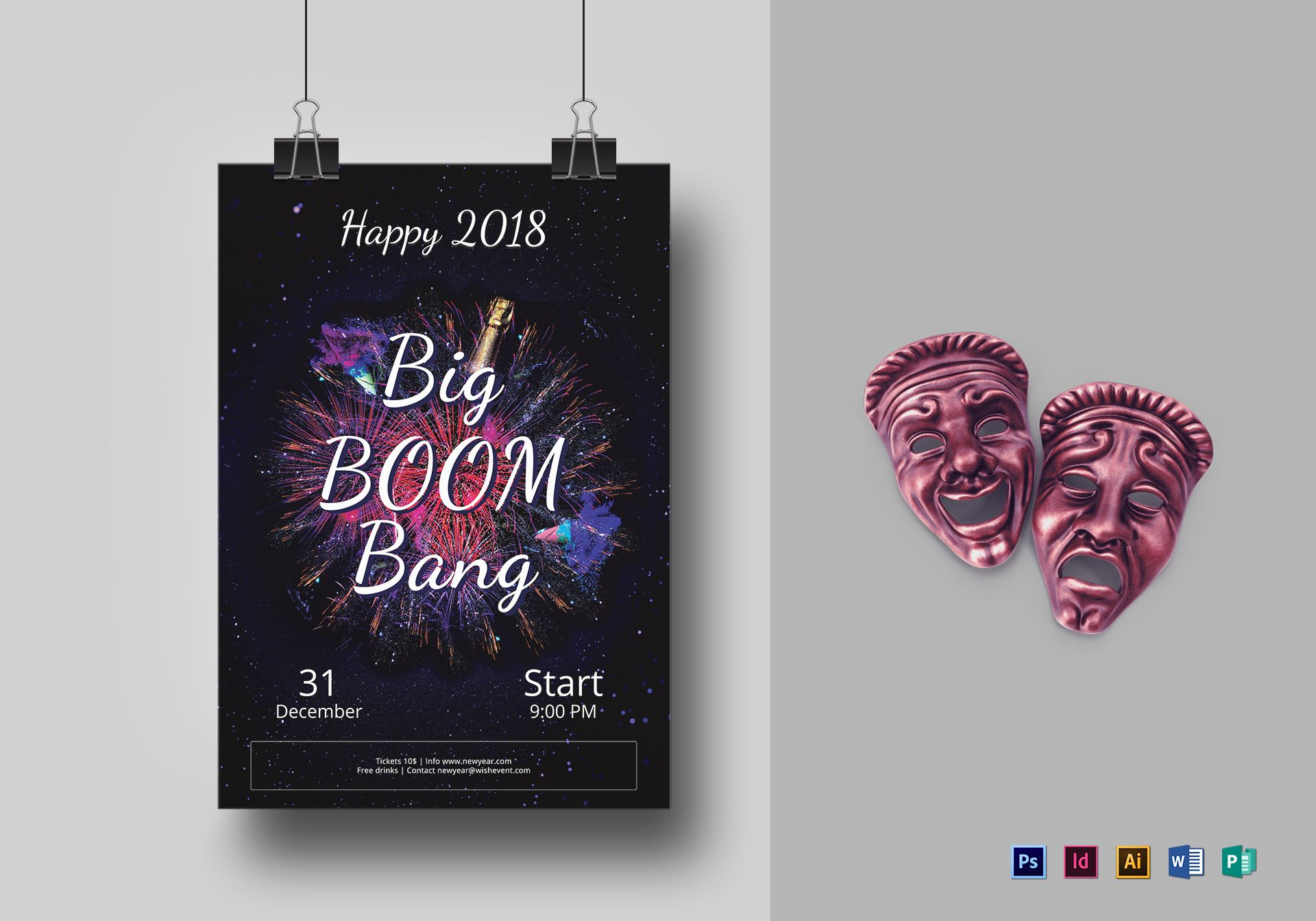 Big Boom Bang New Year Party Flyer Template