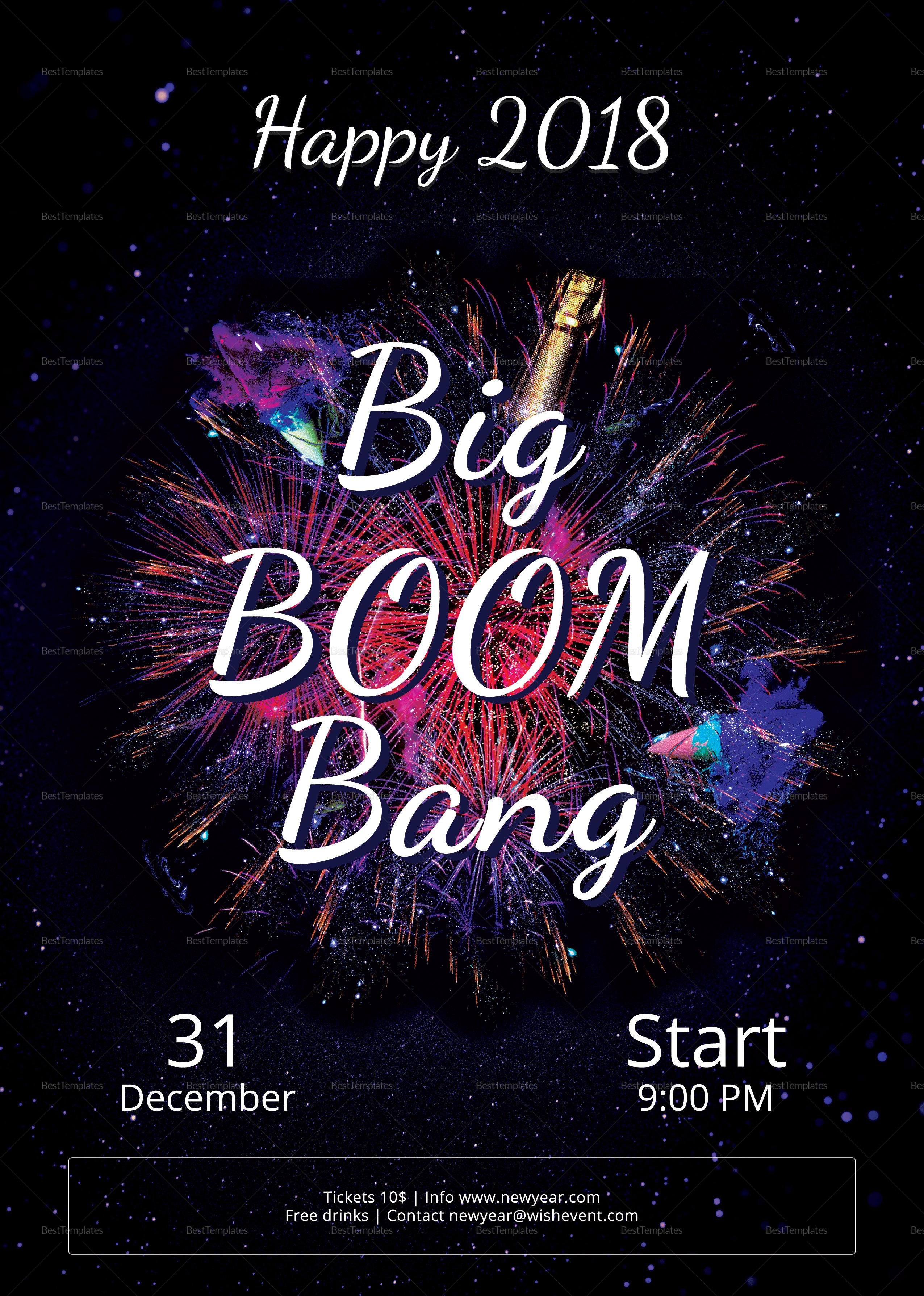 Sample Big Boom Bang New Year Party Flyer