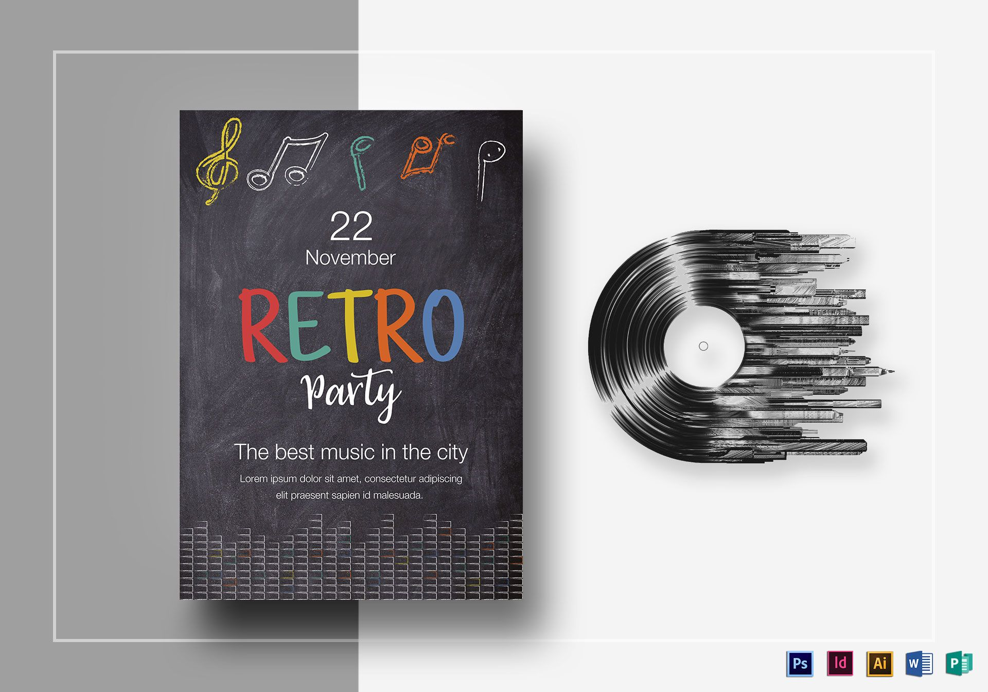 Chalk House 90s Retro Party Flyer Design Template in PSD, Word ...