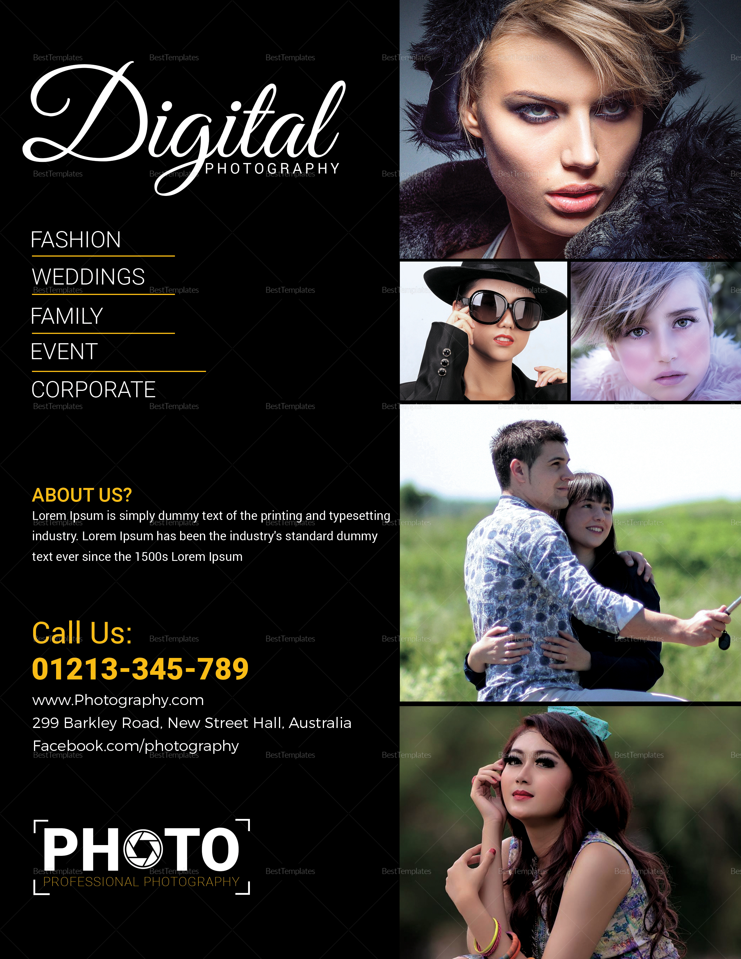 Digital Photography Flyer Design Template in Word, PSD, Publisher