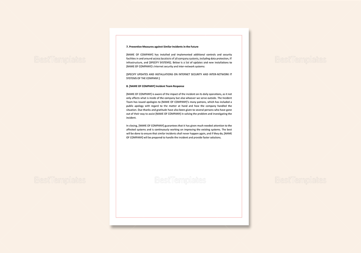 Simple IT Incident Report Template