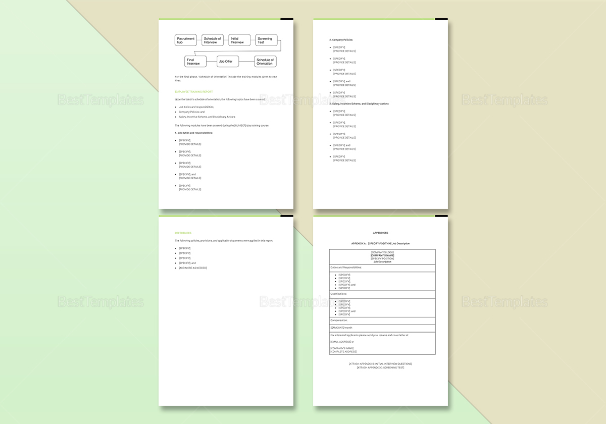 Sample Employee Training Report Template