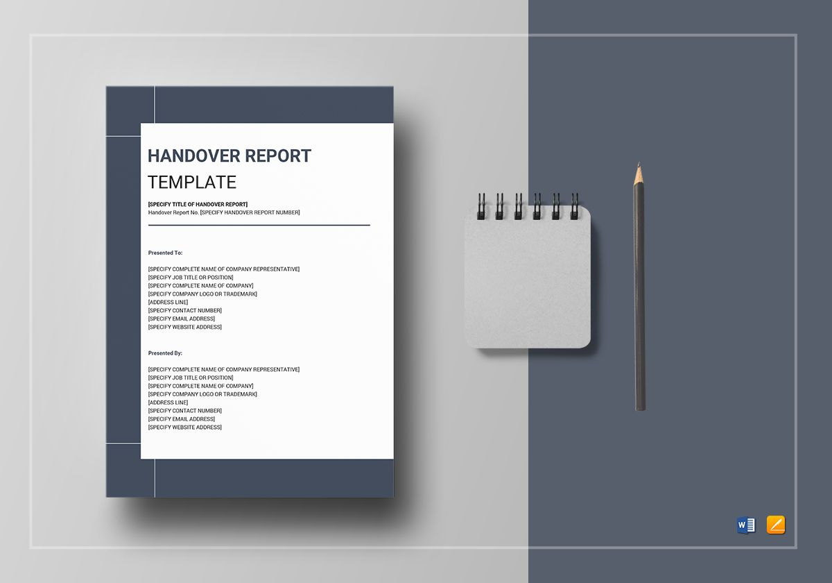handover report template in word google docs apple pages. Black Bedroom Furniture Sets. Home Design Ideas
