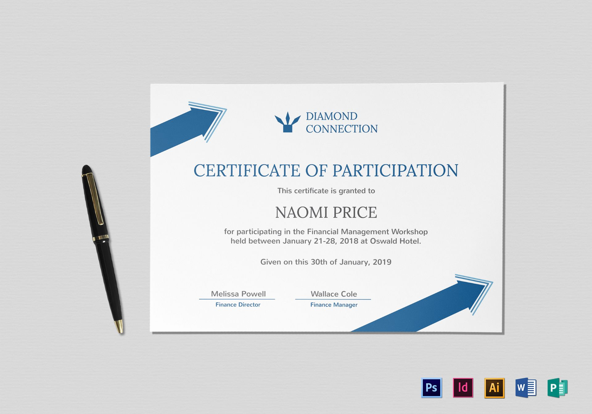 Arrow Style Participation Certificate Design Template In Psd Word