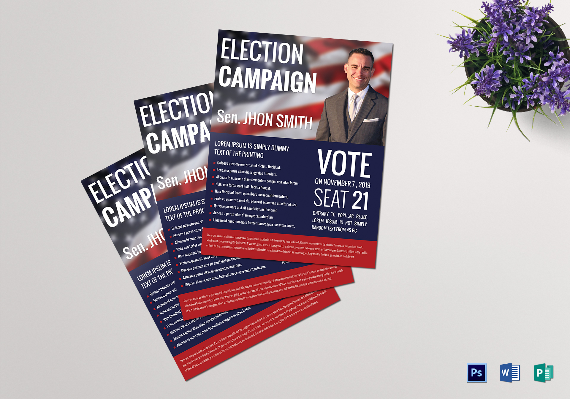 political campaign flyer design template in word psd publisher. Black Bedroom Furniture Sets. Home Design Ideas