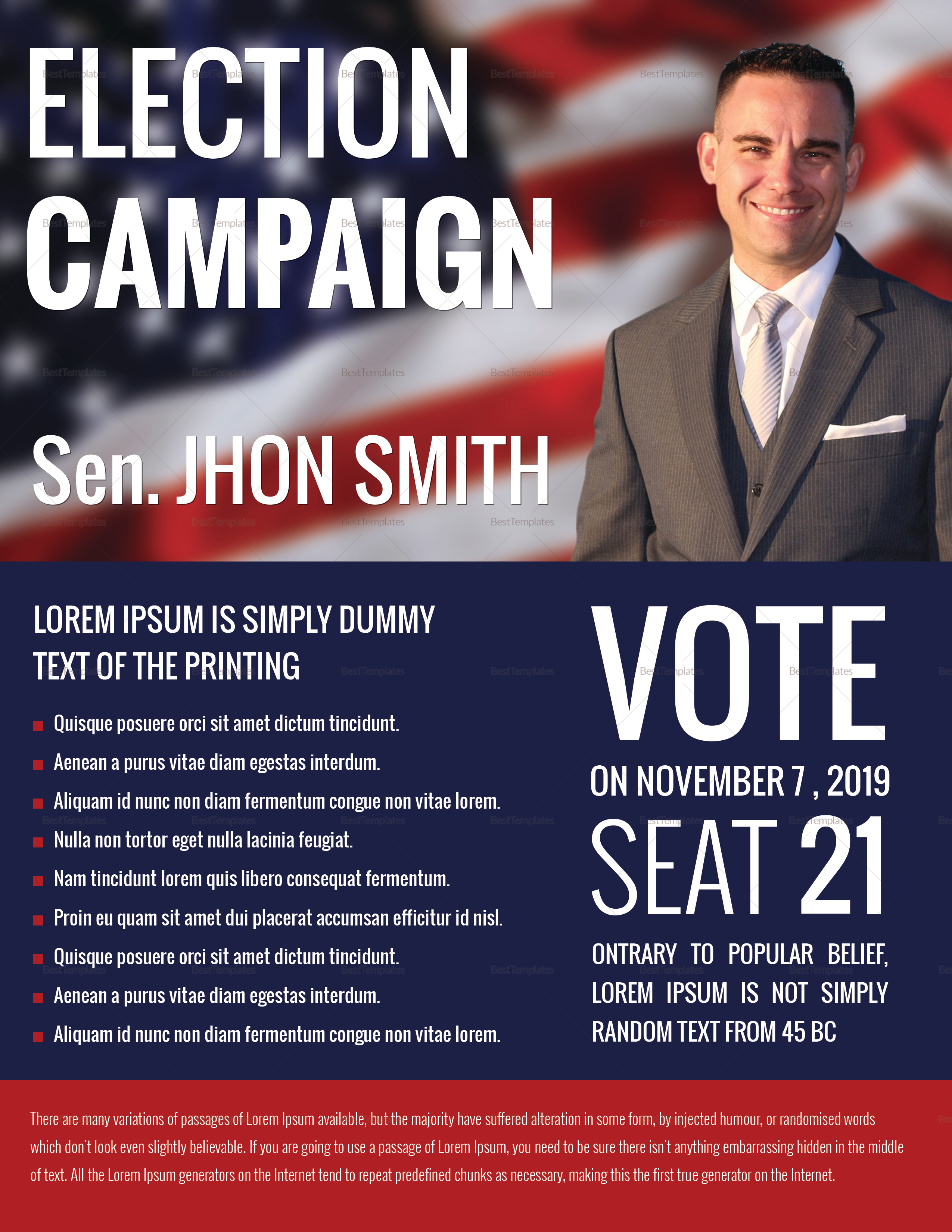 Political Campaign Flyer Design Template In Word PSD Publisher - Political campaign brochure template