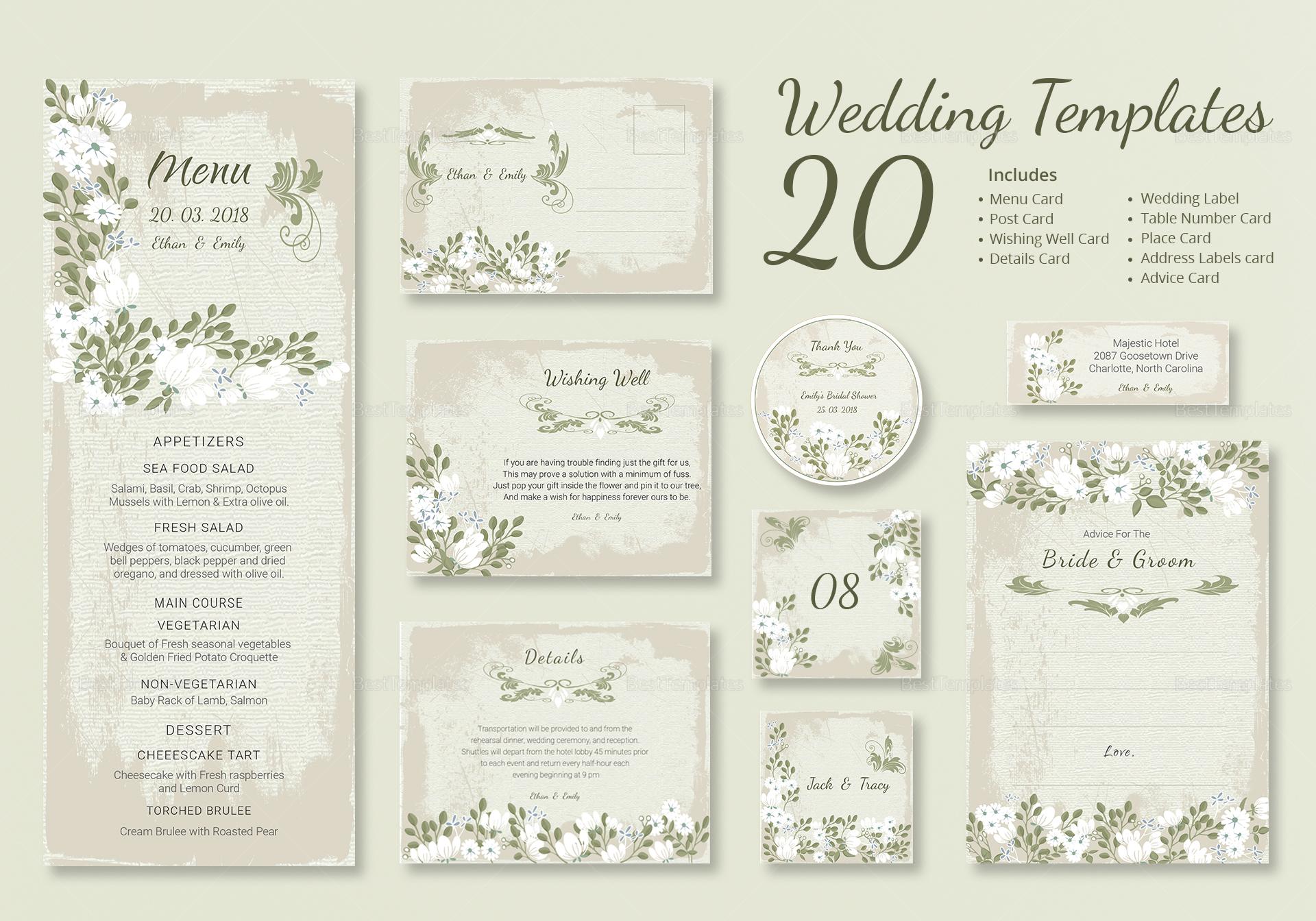 Vintage Wedding Templates (Includes 20 Designs)