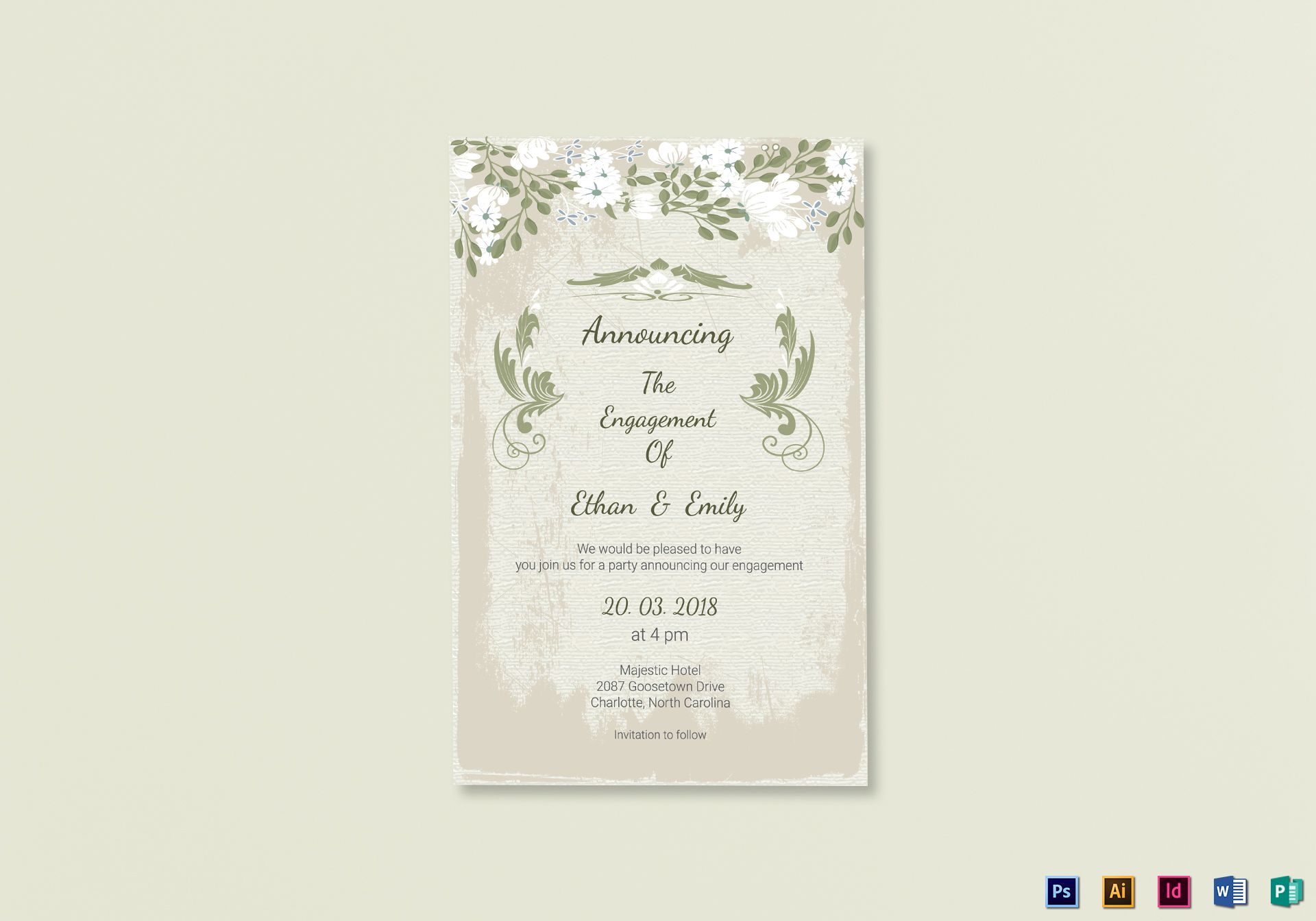 Vintage Engagement Announcement Card Template Within Engagement Card Template