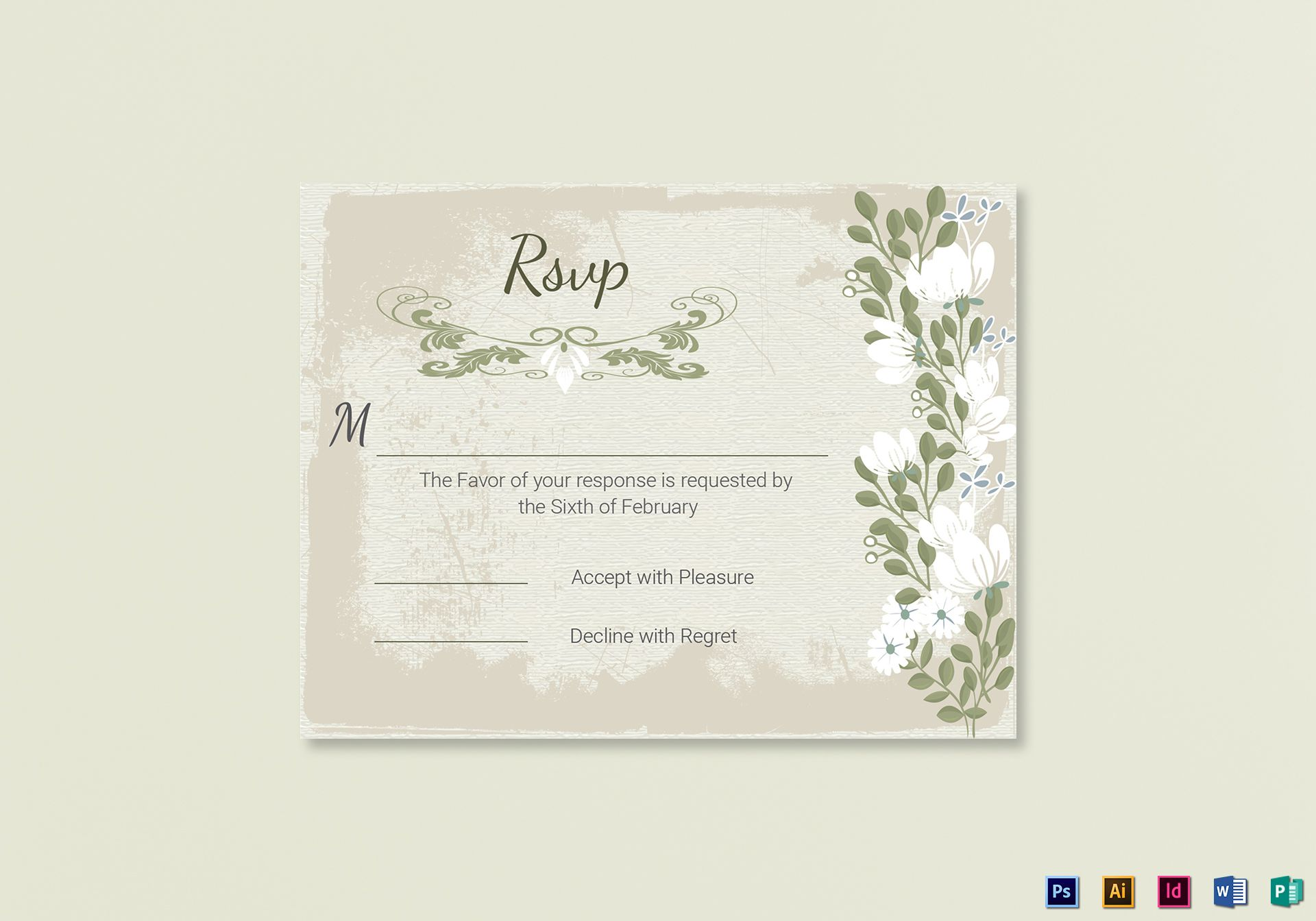 Vintage Wedding RSVP card Template