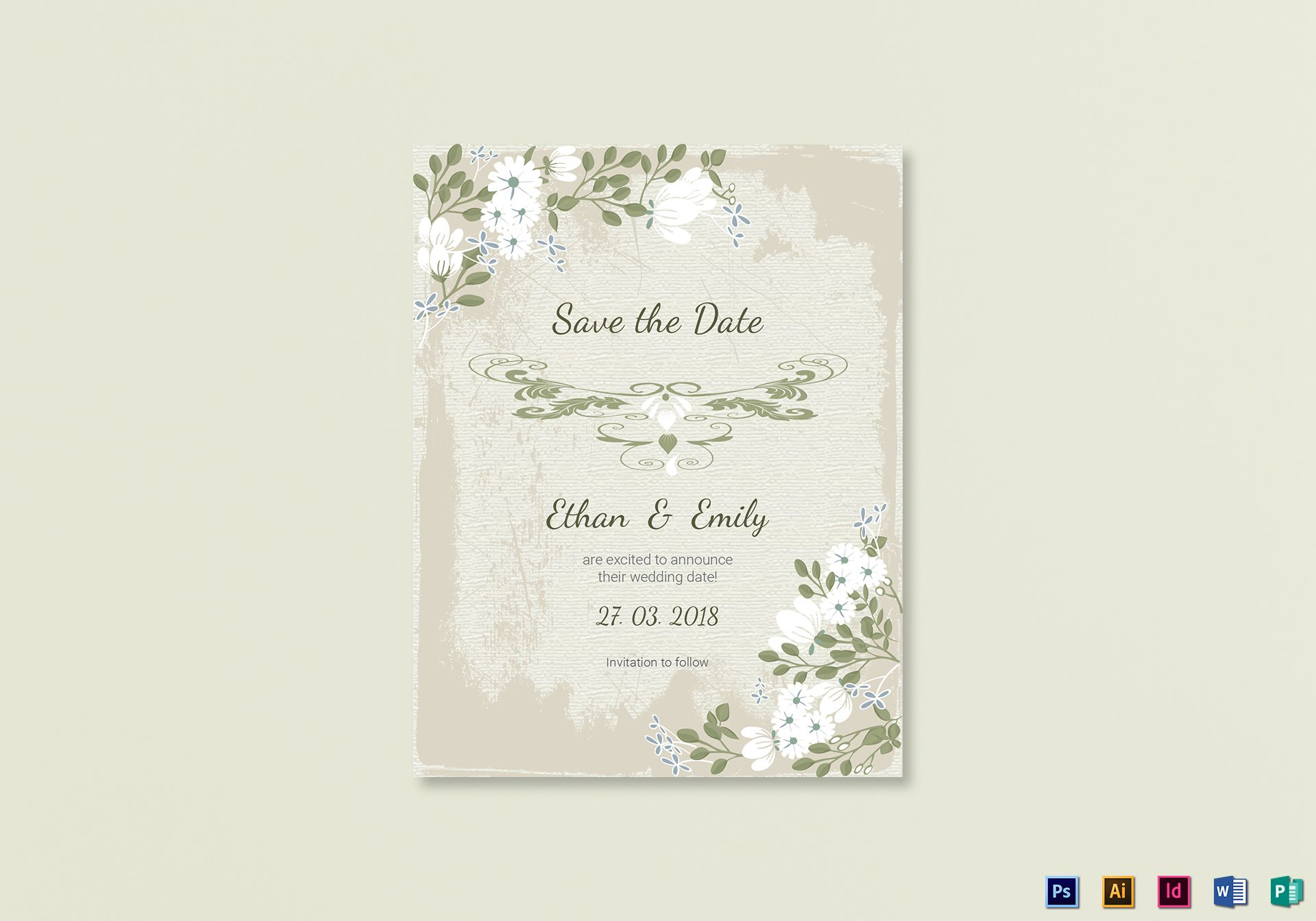 Vintage Save the Date Card Template