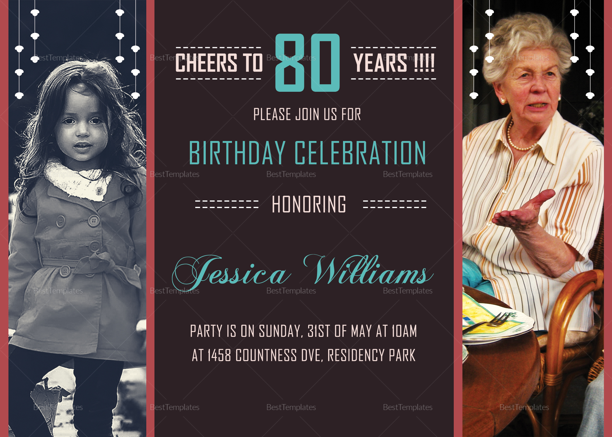 80TH Birthday Invitation Design Template