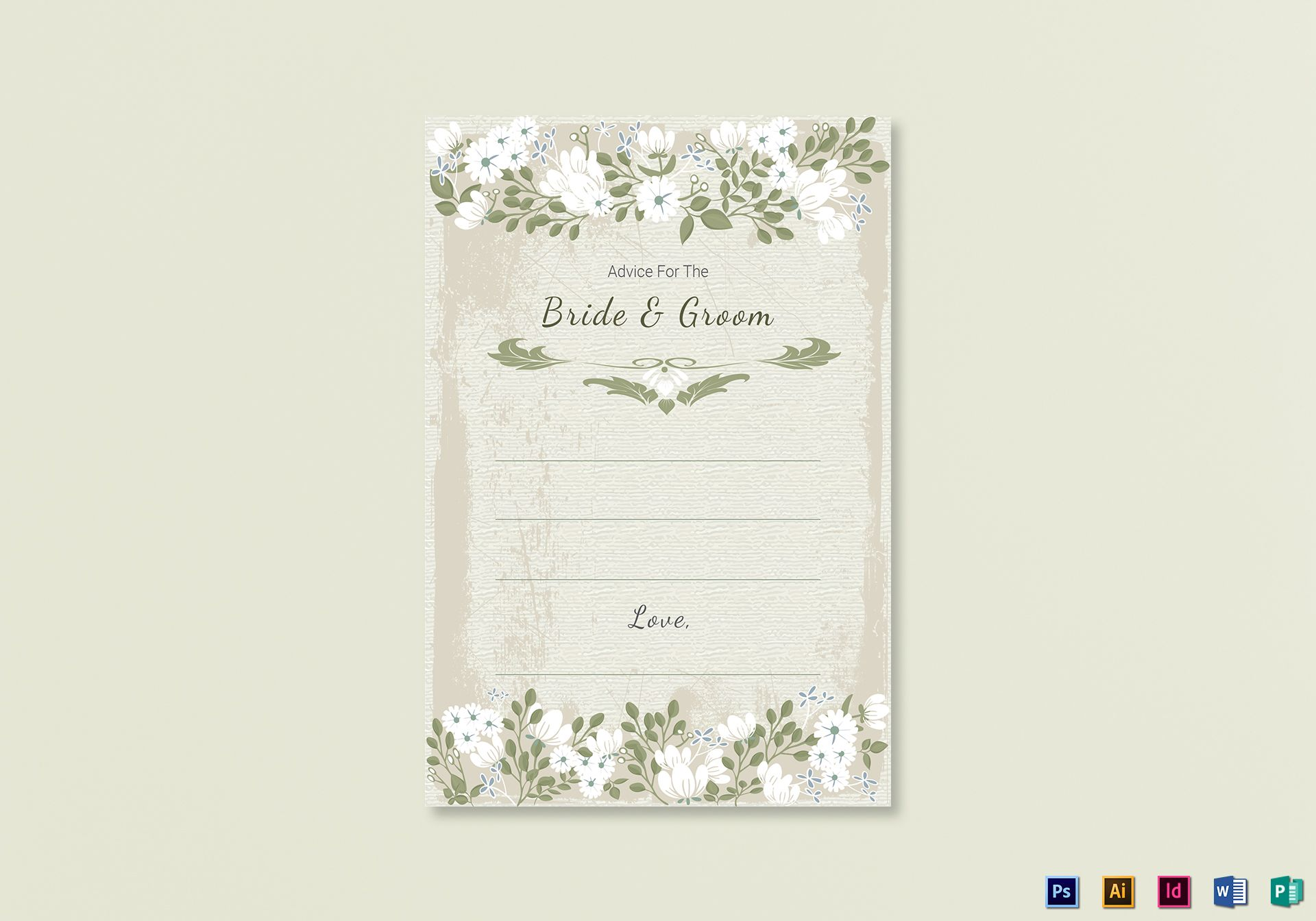 Vintage Wedding Advice Card Template