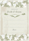 Vintage Wedding Advice Card Template to Print