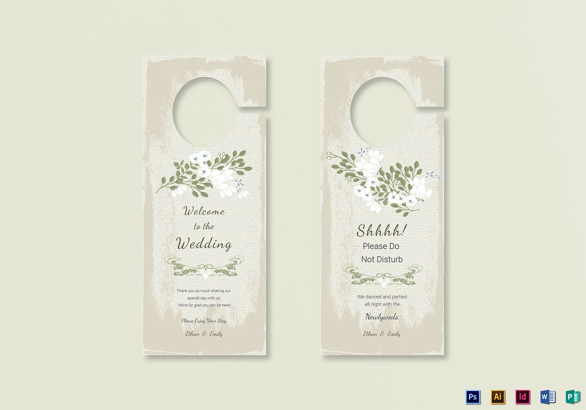 Wedding Door Hanger Template | Vintage Wedding Door Hanger Template In Psd Word Publisher