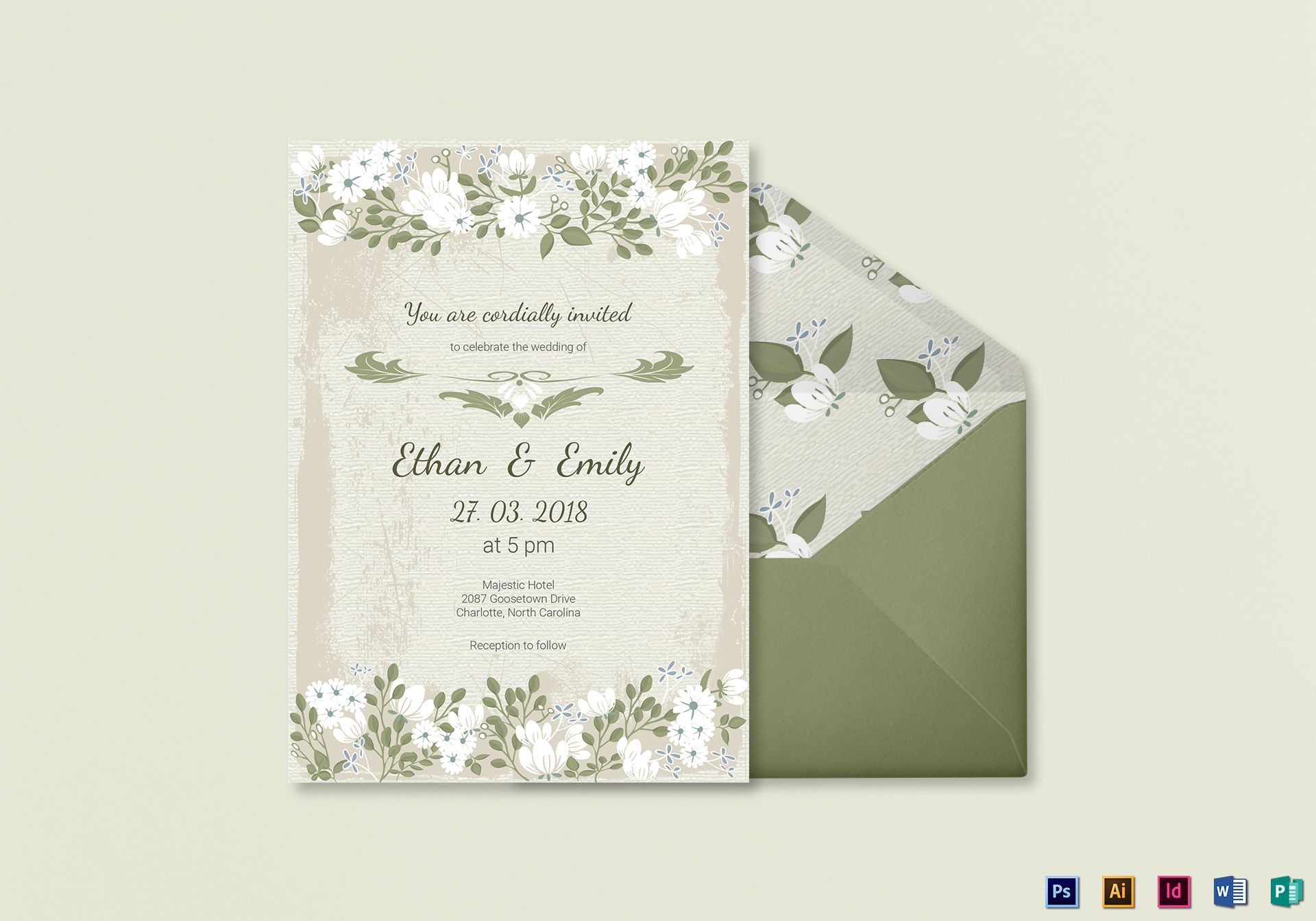Vintage Wedding Invitation Card Template in PSD, Word, Publisher ...
