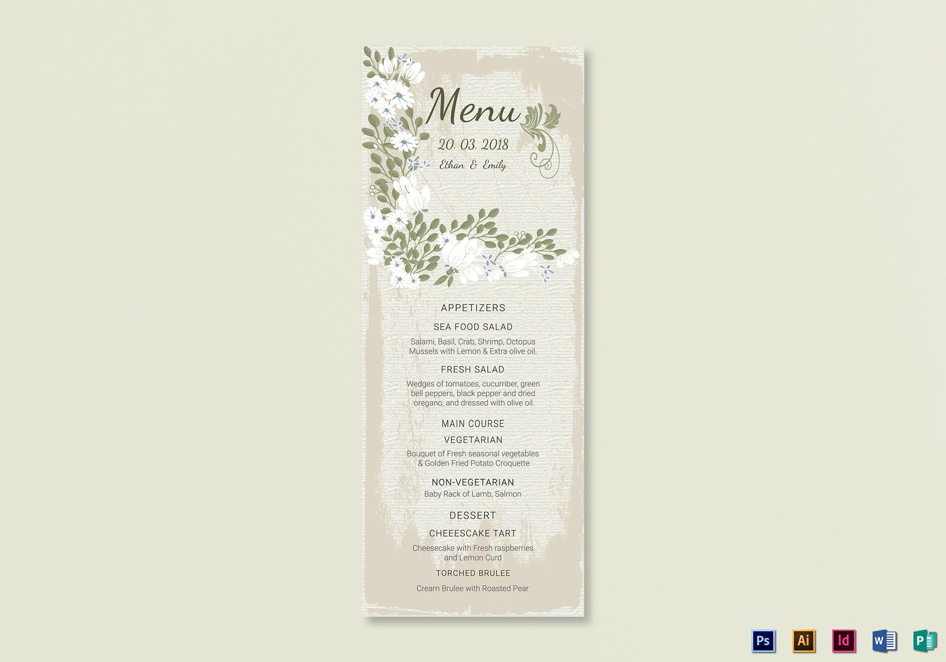 Vintage Wedding Menu Card Template
