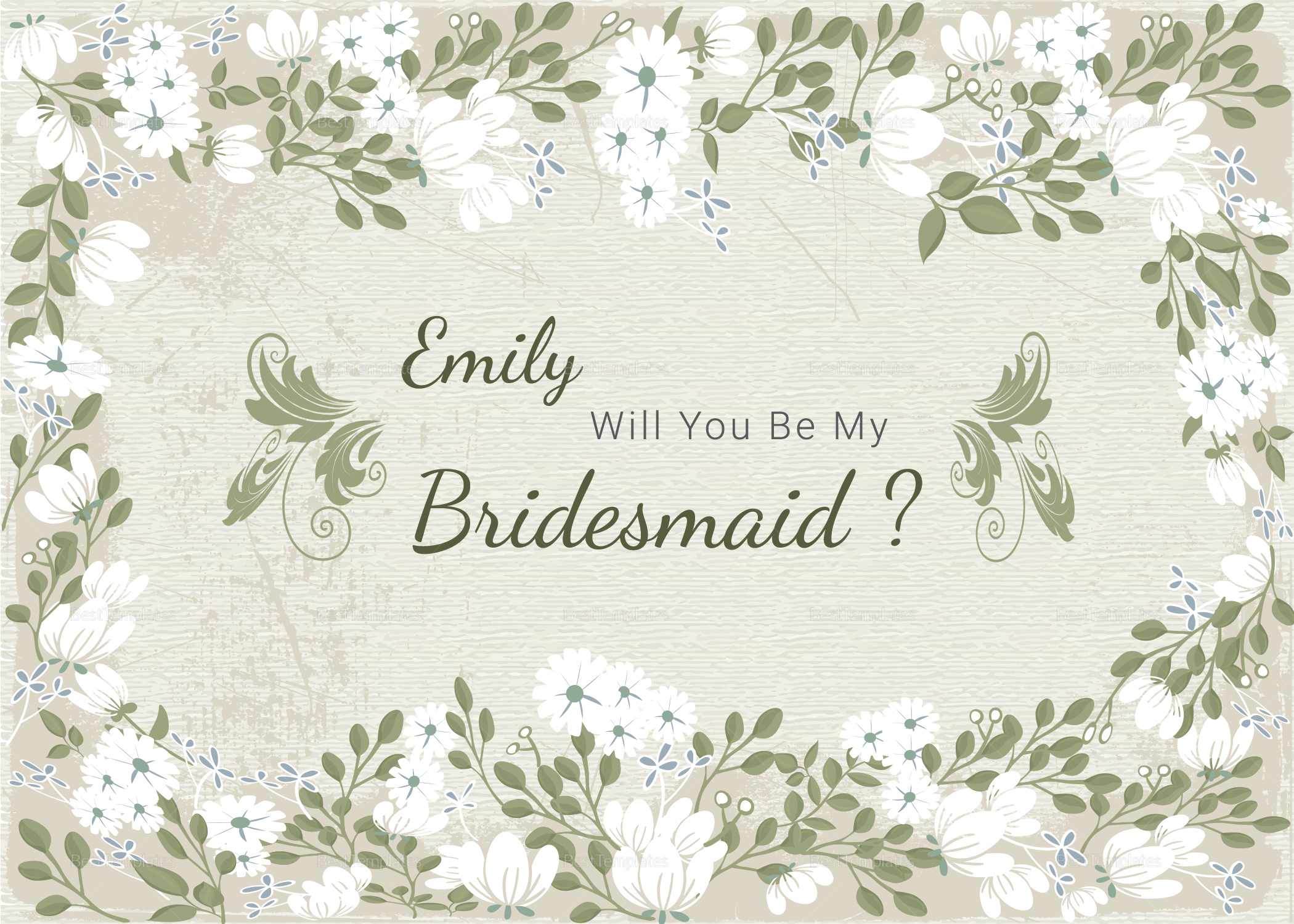 Vintage Will You Be My Bridesmaid Card Template