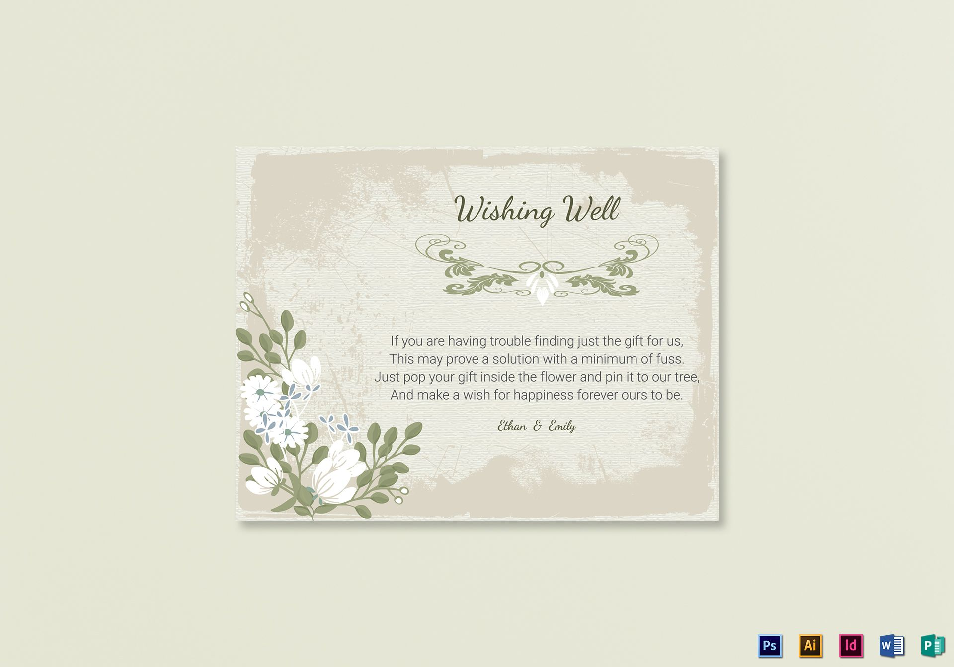 Vintage Wishing Well Card Template