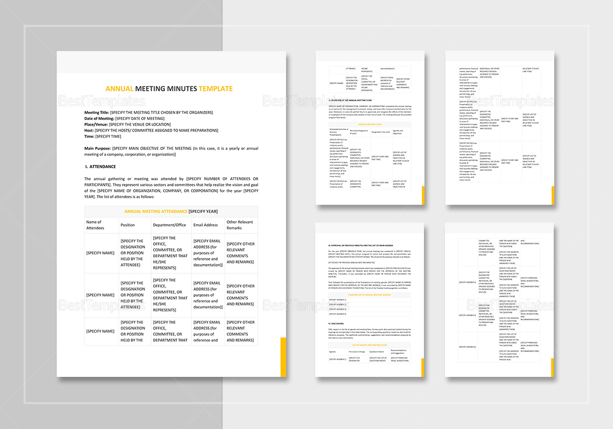 annual meeting minutes template in word google docs apple pages