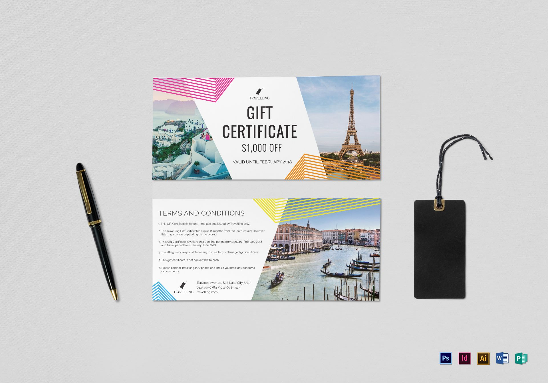 Travel gift certificate design template in psd word publisher travel gift certificate template yelopaper