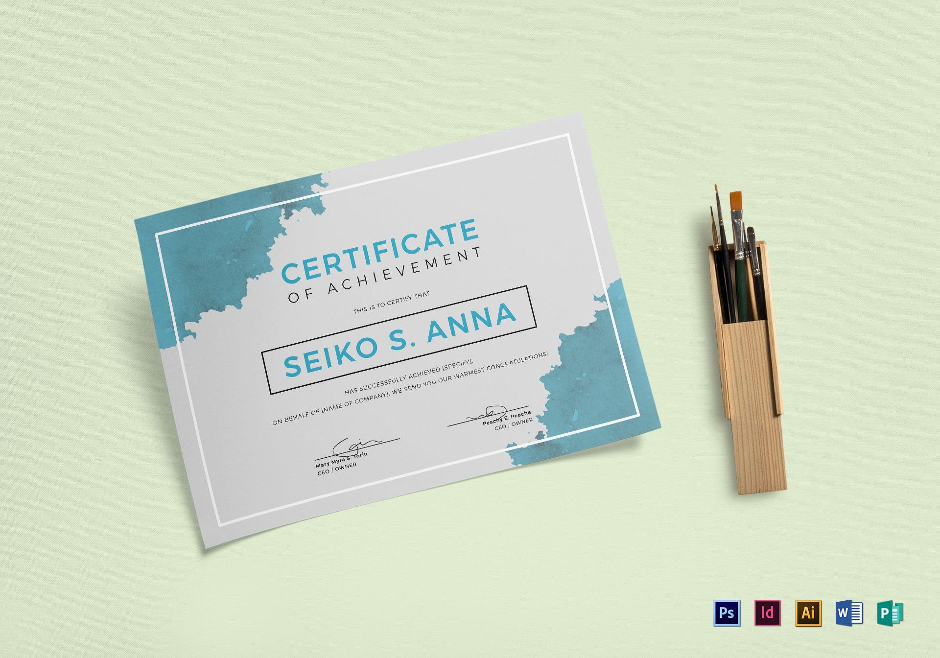 Watercolor Certificate Template
