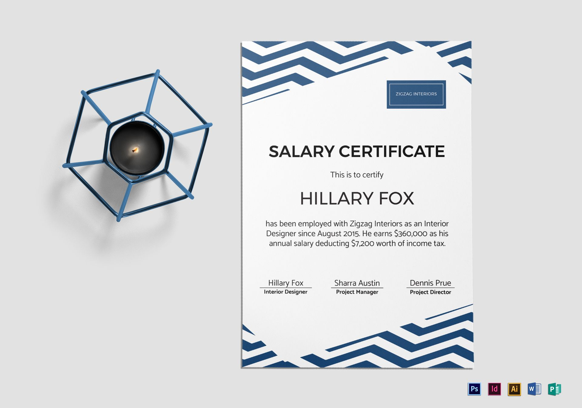 Simple Salary Certificate Design Template in PSD, Word, Publisher ...