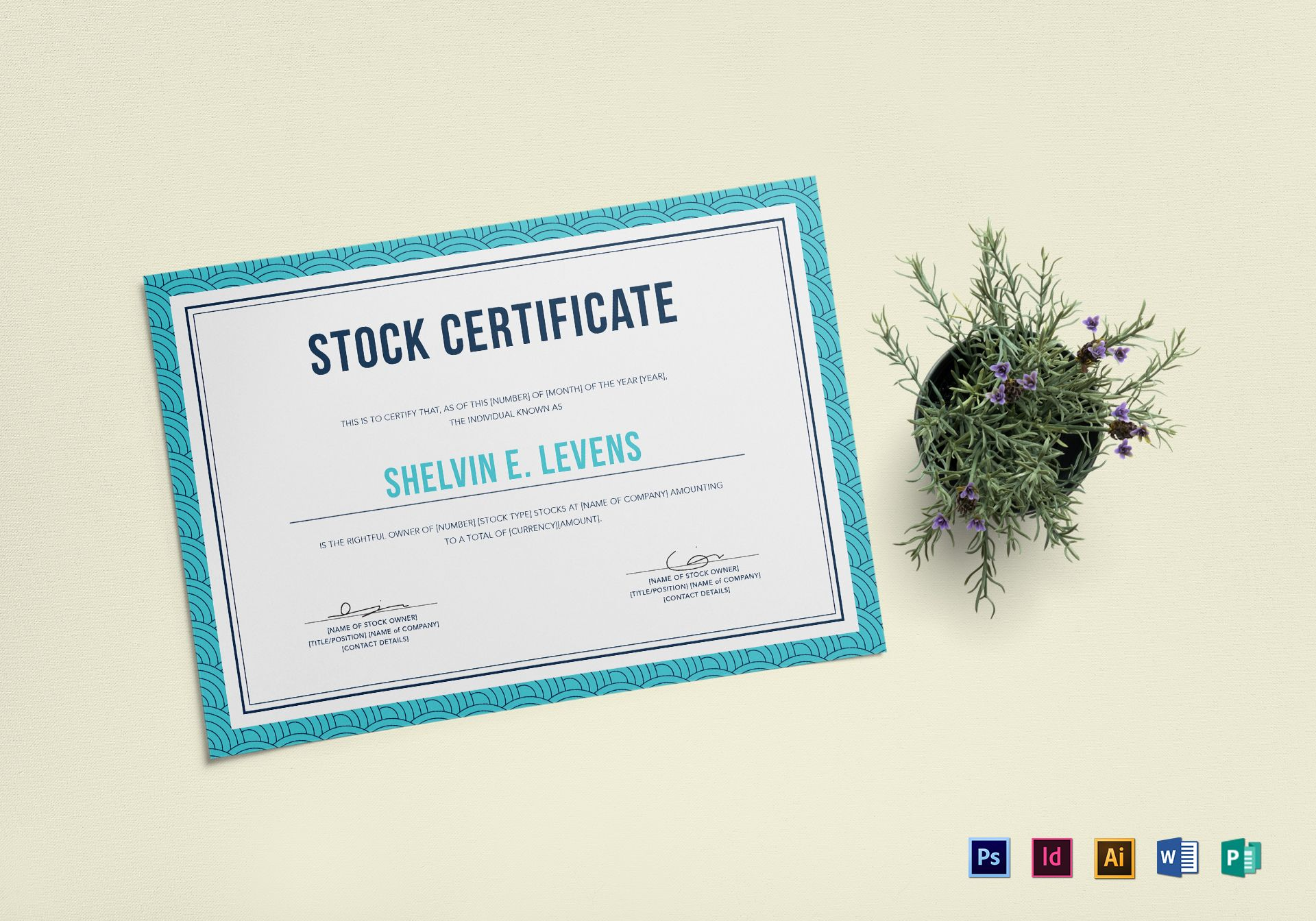 Stock certificate design template in psd word publisher stock certificate template xflitez Choice Image