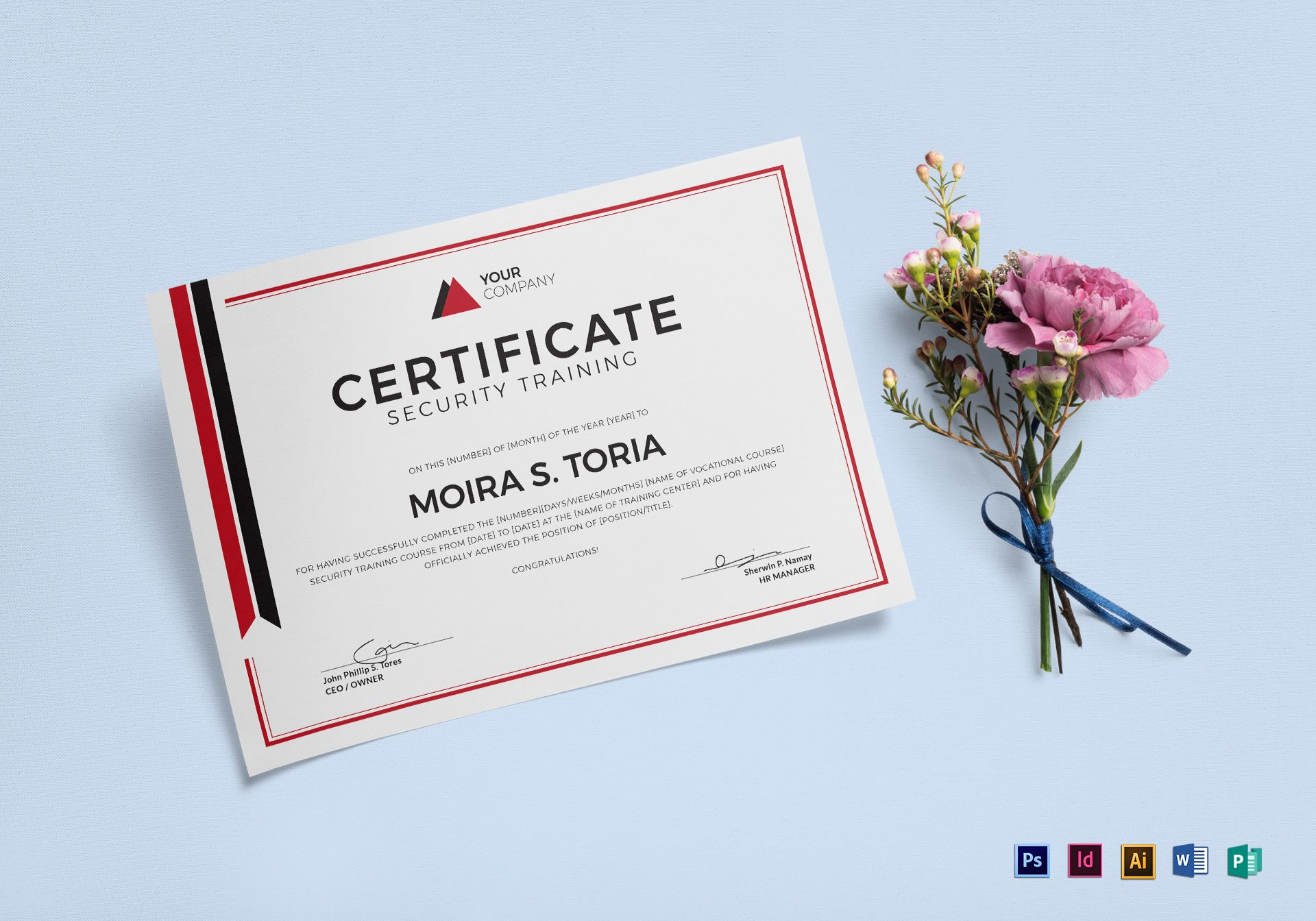 Security Training Certificate Design Template in PSD, Word ...