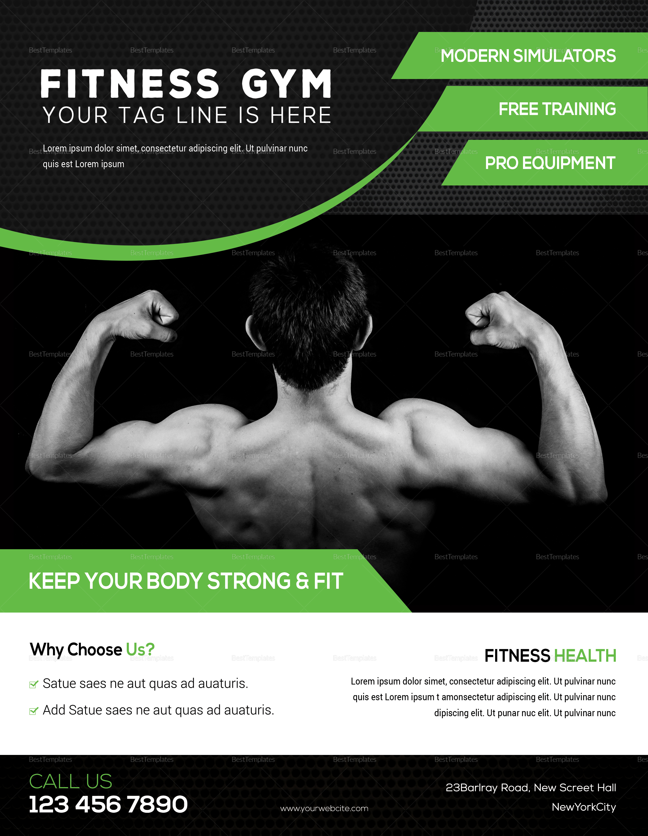 hercules fitness gym flyer design template in psd word publisher