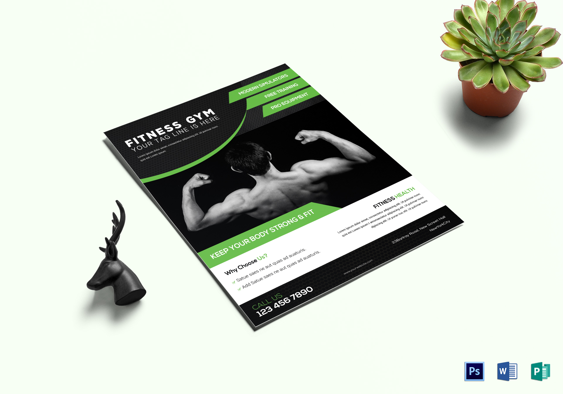 Hercules Fitness Gym Flyer Template
