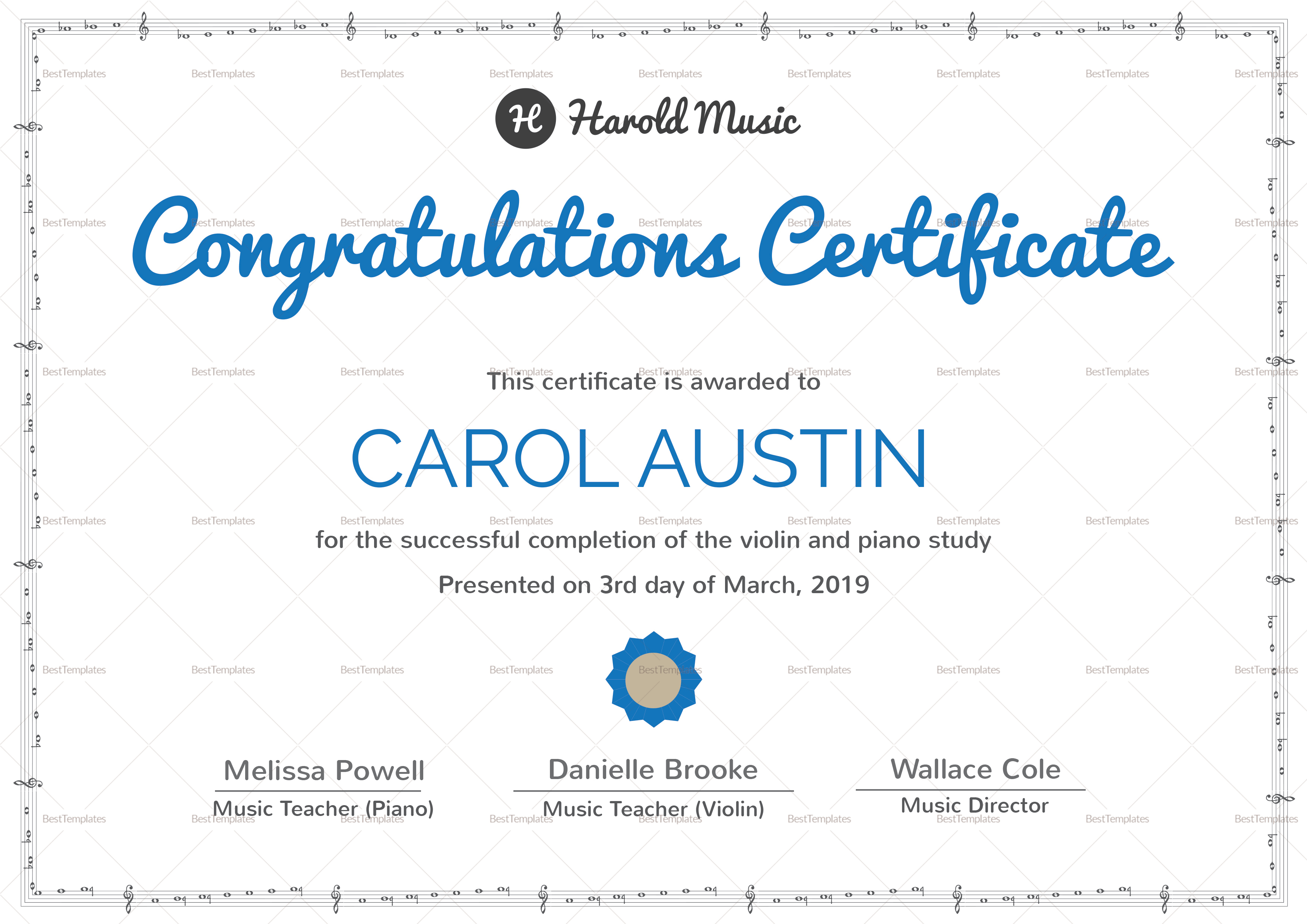 Sample Music Training Completion Certificate Template