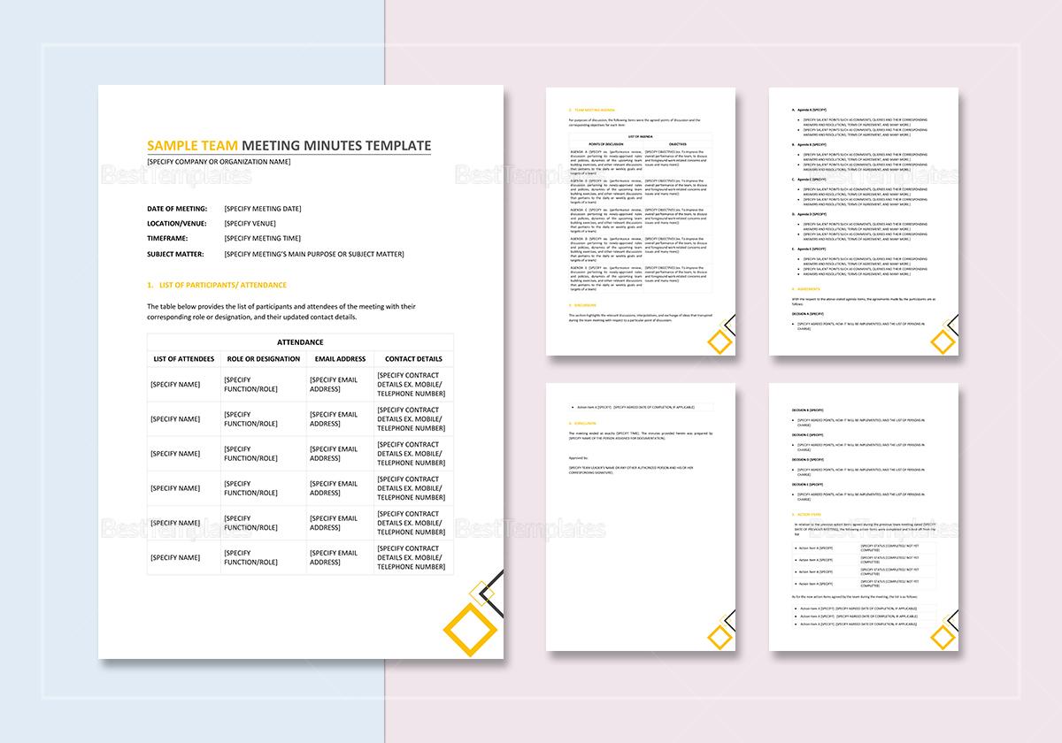Sample Team Meeting Minutes Template