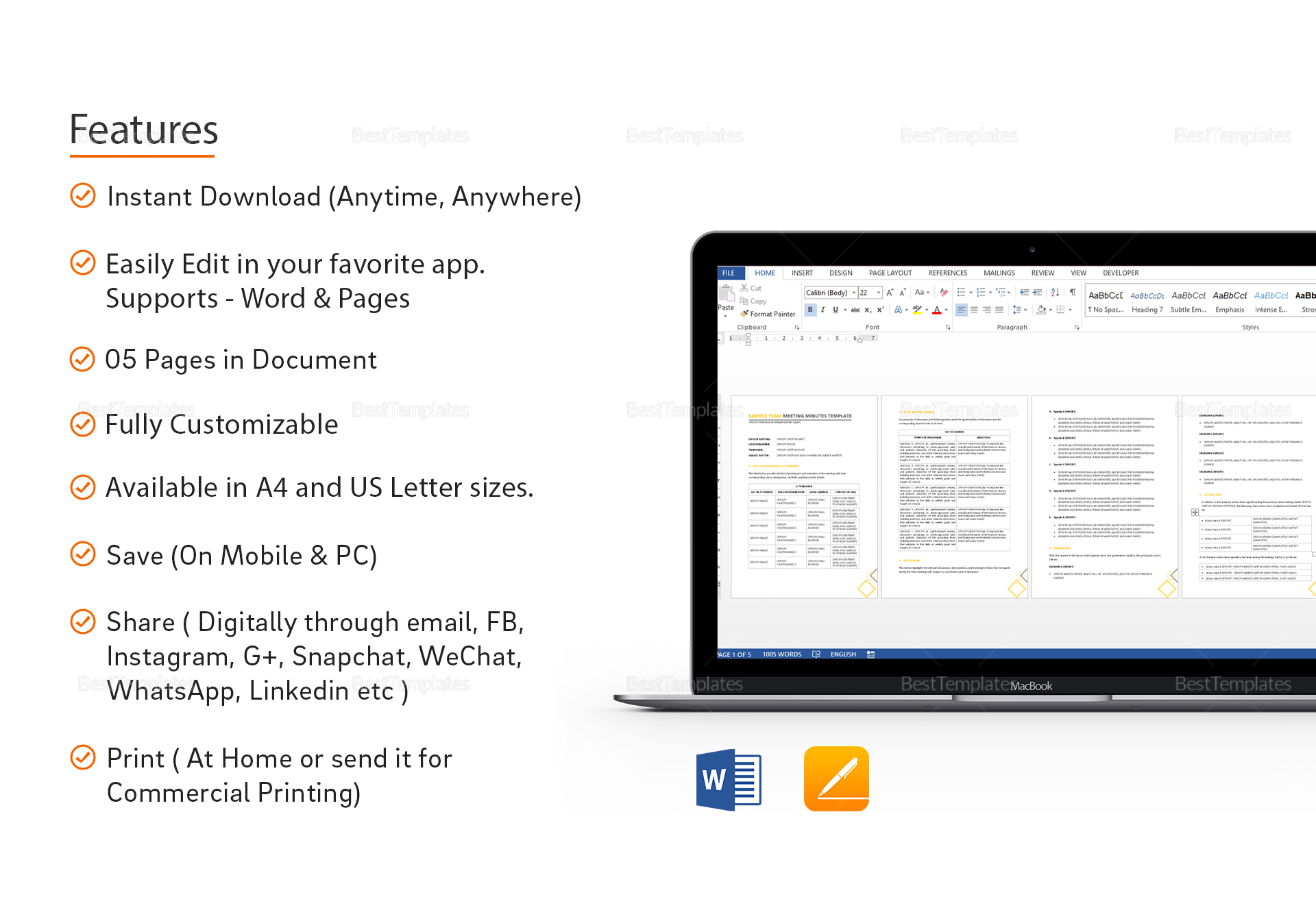 team meeting minutes template in word google docs apple pages