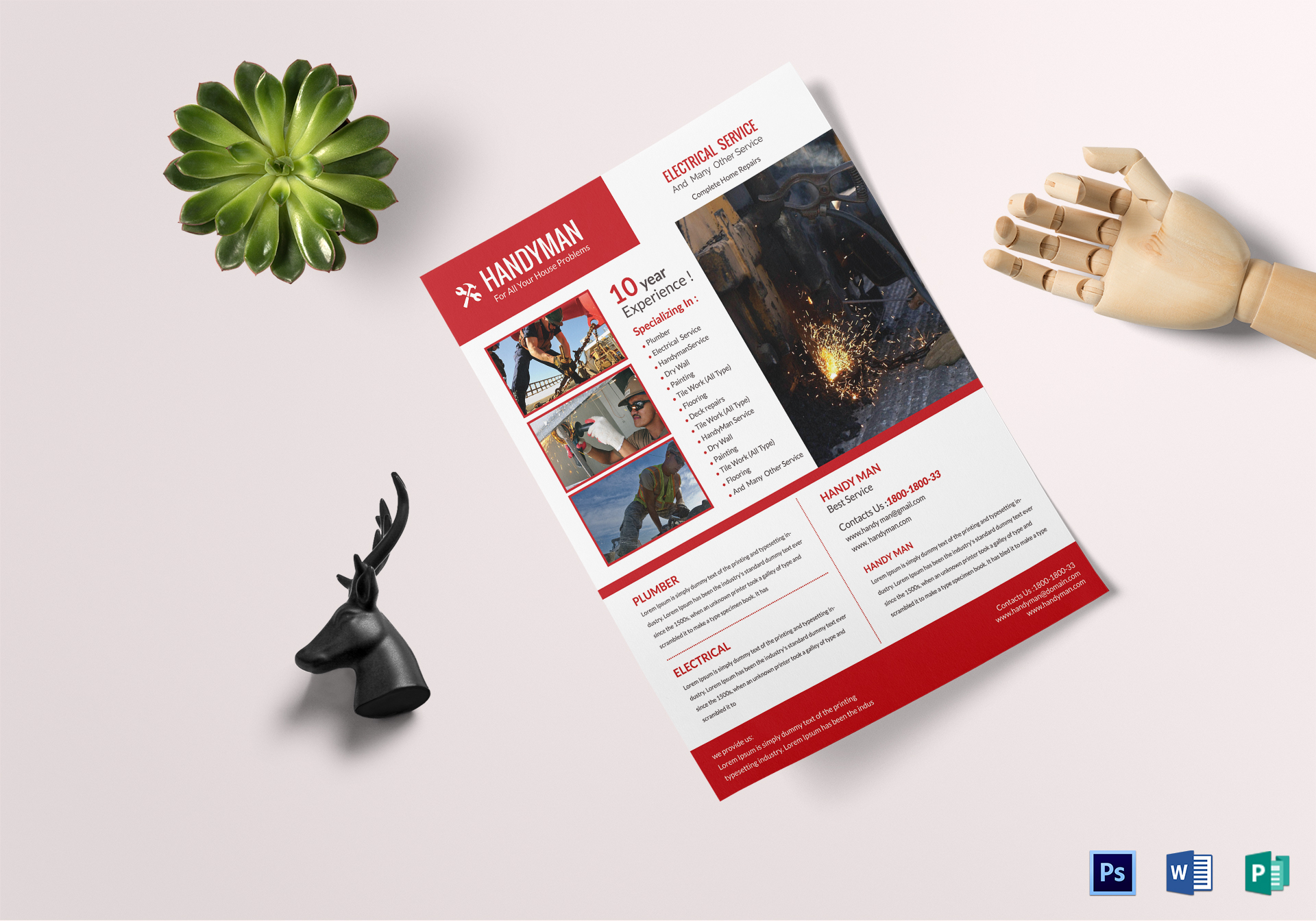 Electrical Handyman Flyer Design Template In Psd Word Publisher