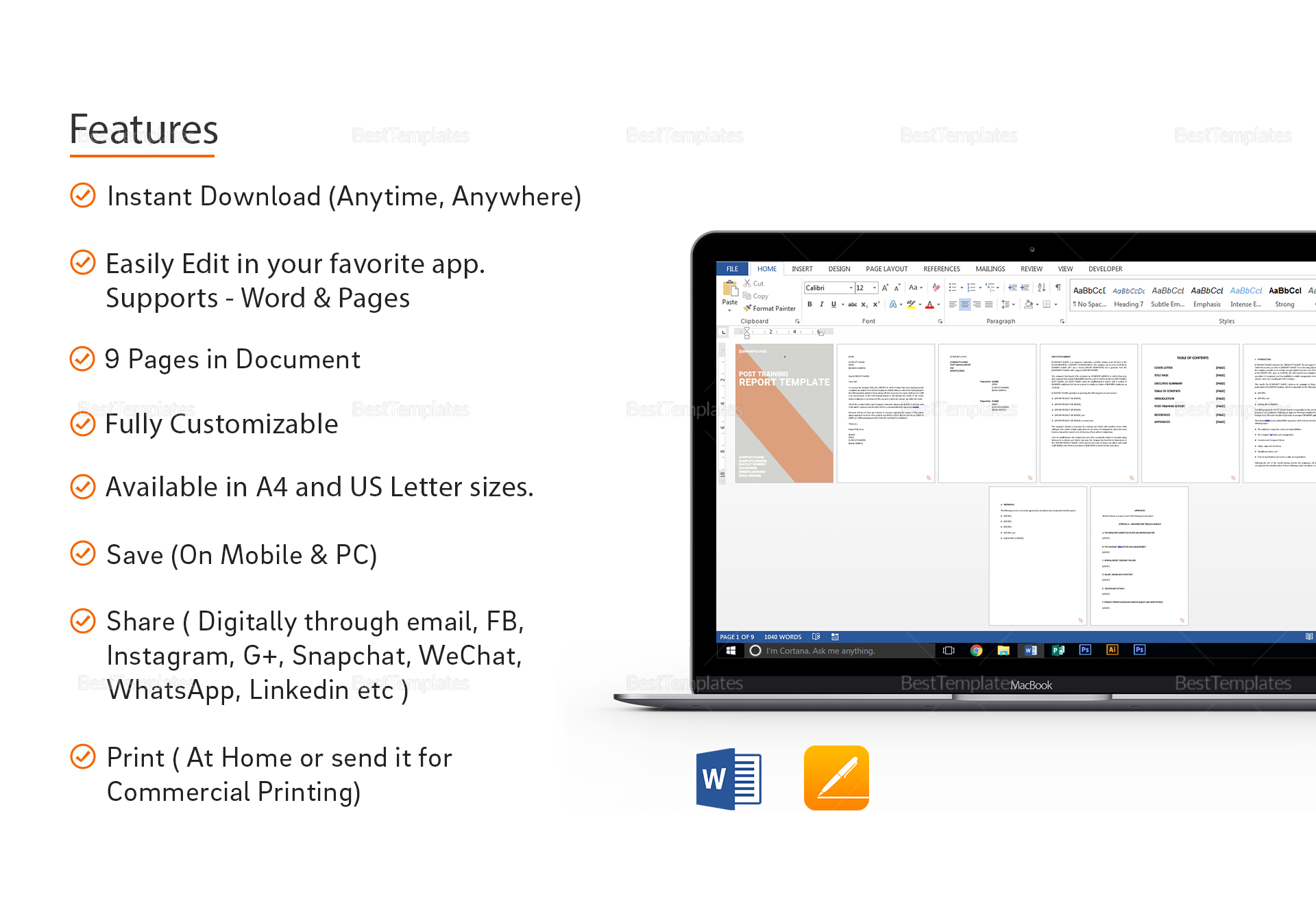 Post Training Report Template in Word, Google Docs, Apple Pages