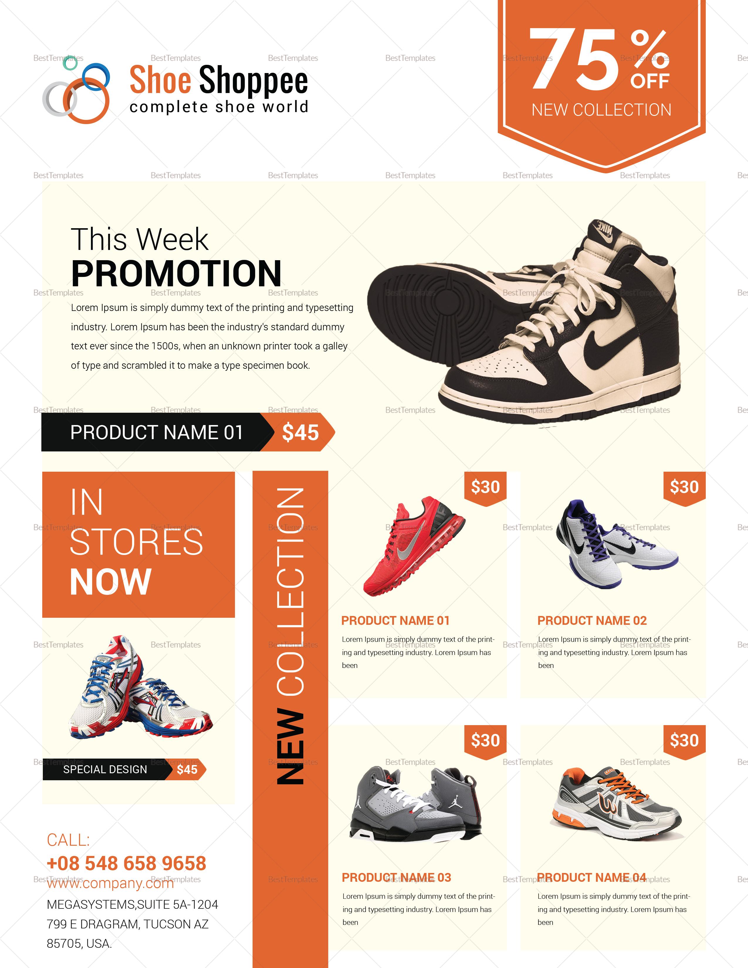 shoe product sale flyer design template in word psd publisher. Black Bedroom Furniture Sets. Home Design Ideas