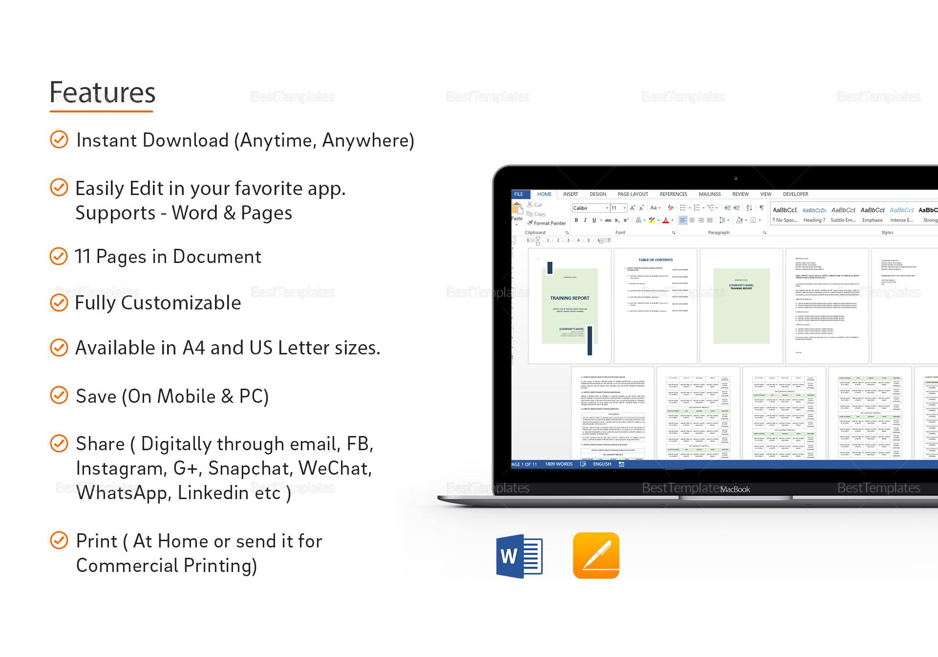 Editable Training Report Template