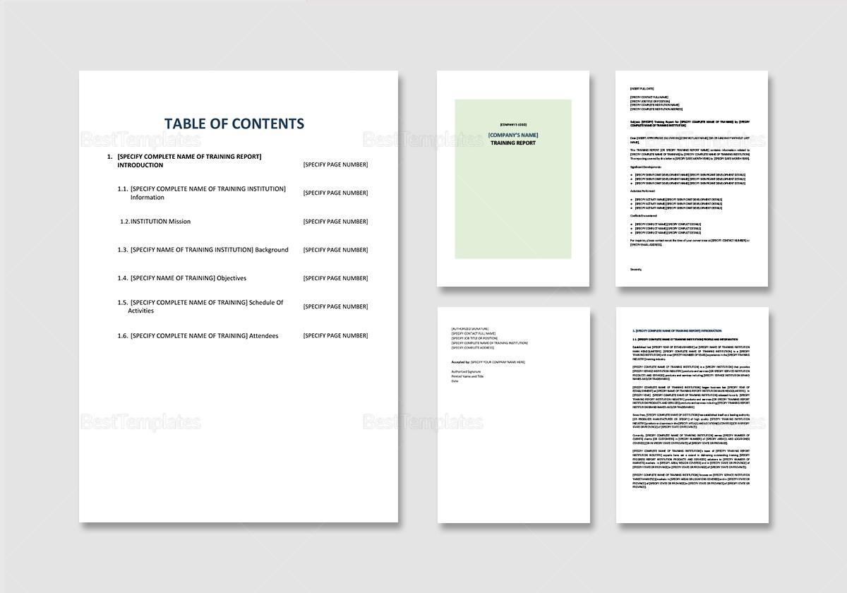 Sample Training Report Template