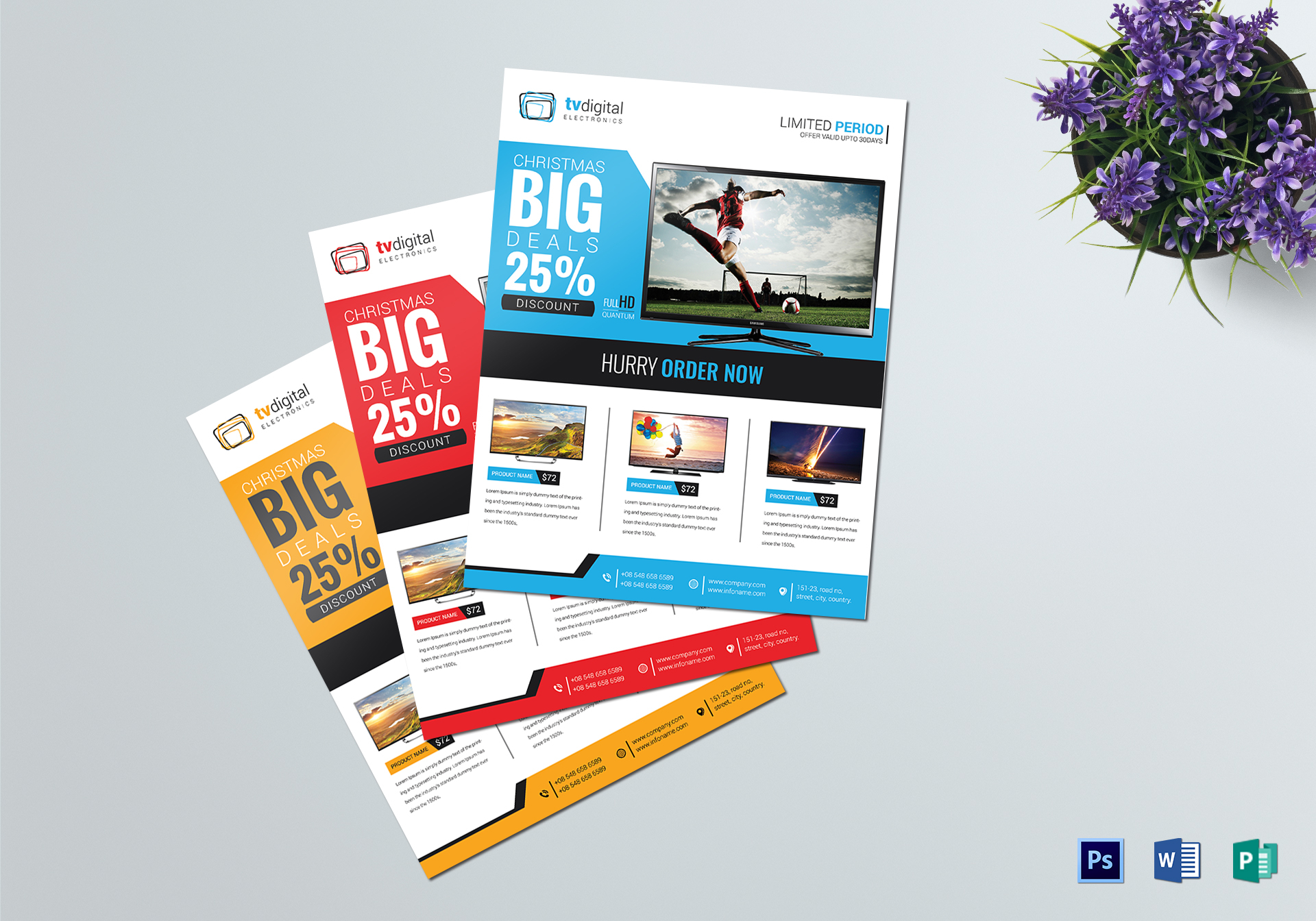 television product sale flyer design template in word psd publisher