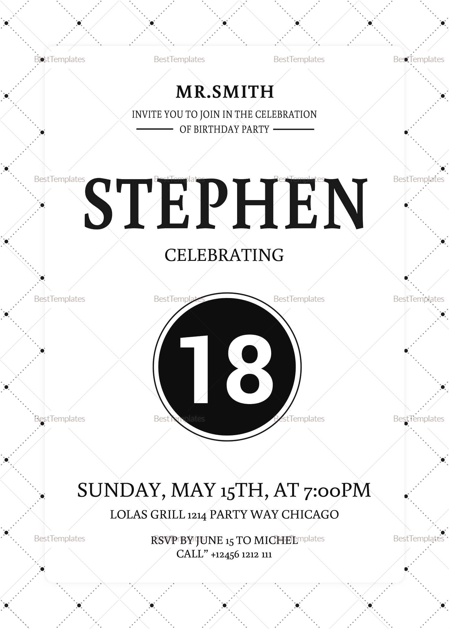 18th Birthday Party Invitation Design Template in Word, PSD ...
