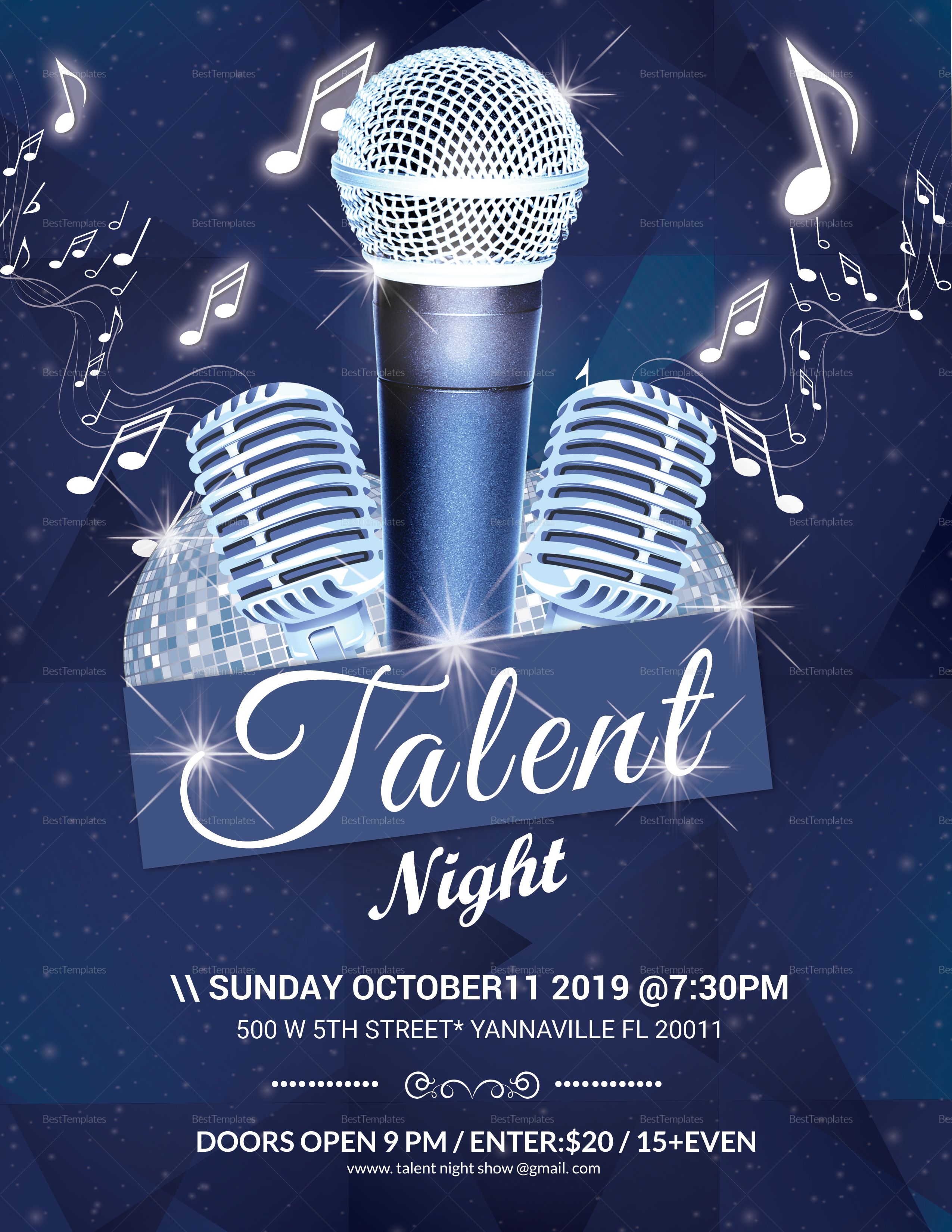 Talent Night Flyer Design Template In Word Psd Publisher