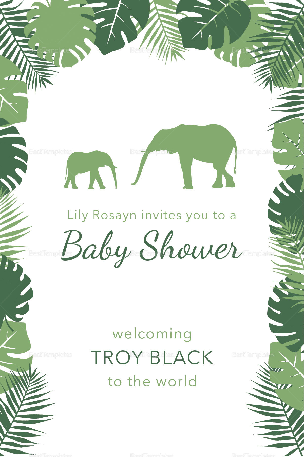 Zoo Baby Shower Invitation Template